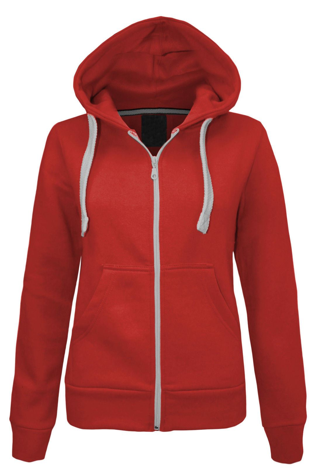 New Women's Zip Up Hooded Top Ladies Plain Colours Hoodies ...