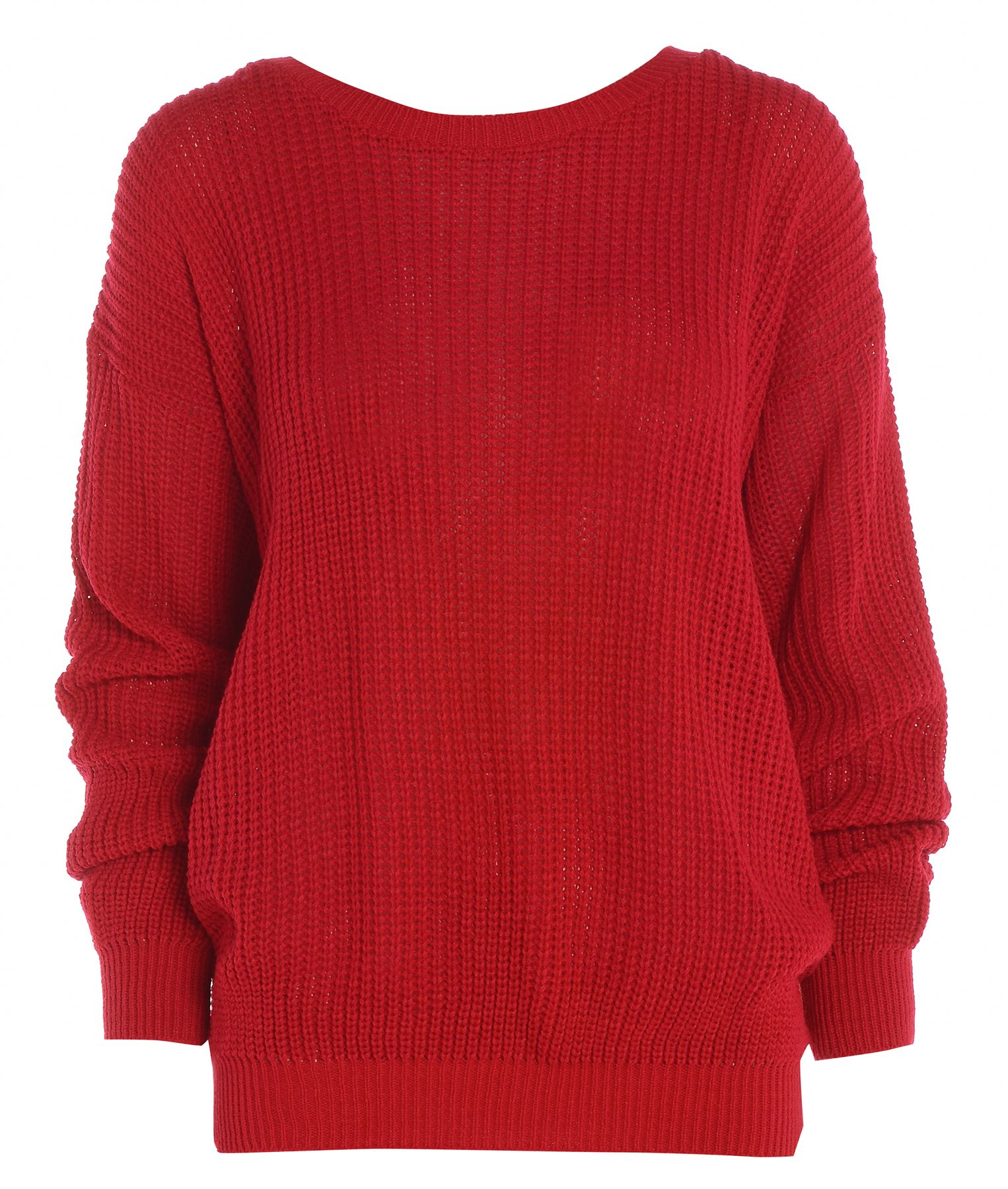 New Ladies Womens Plain Oversized Baggy Knitted Jumper Chunky ...