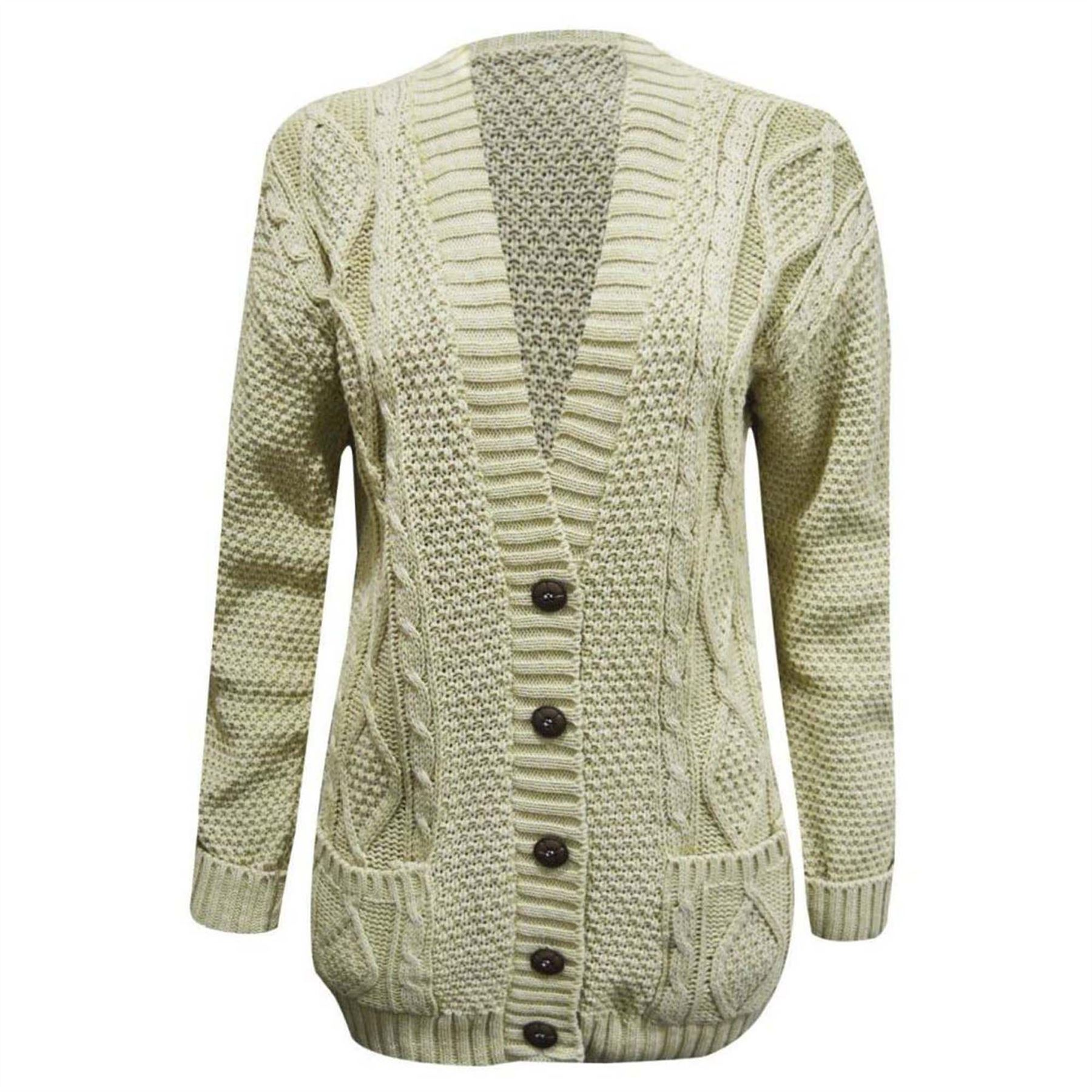 Ladies-Chunky-Top-Long-Sleeve-Womens-Aran-Cable-Knitted-Grandad-Cardigan-UK-8-26