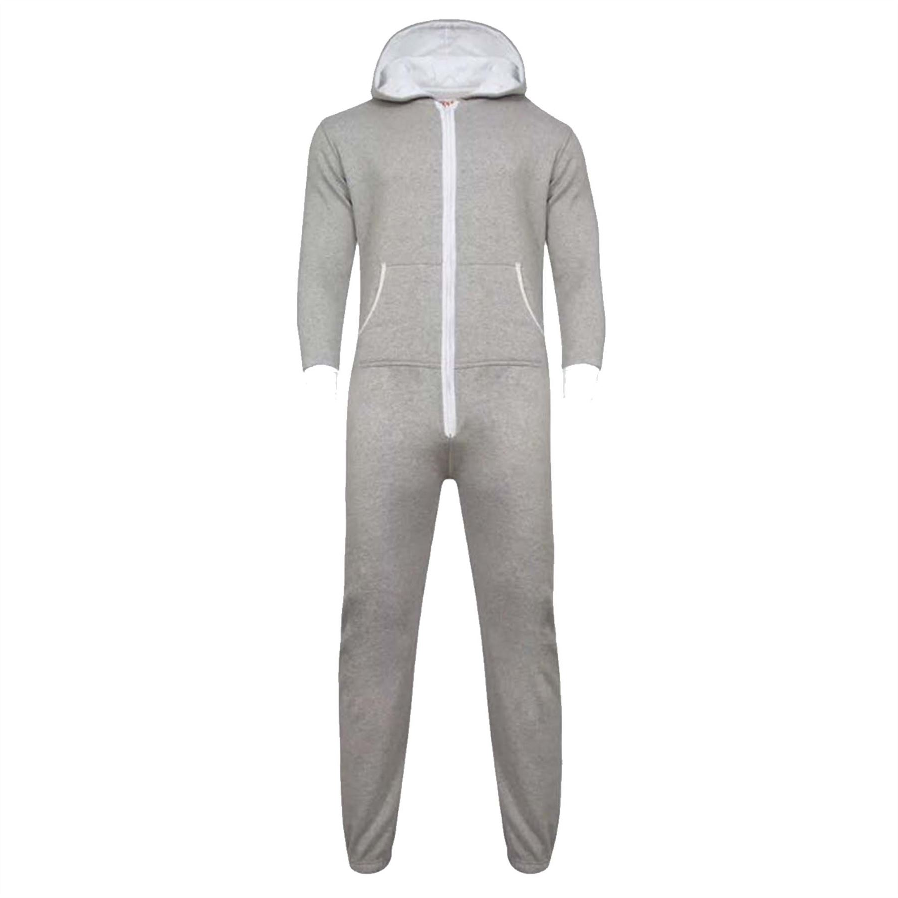ac240b1b6a1f Details about Womens Ladies Adult Hooded Plain Onesie Not Gerber All In One  Playsuit Jumpsuit