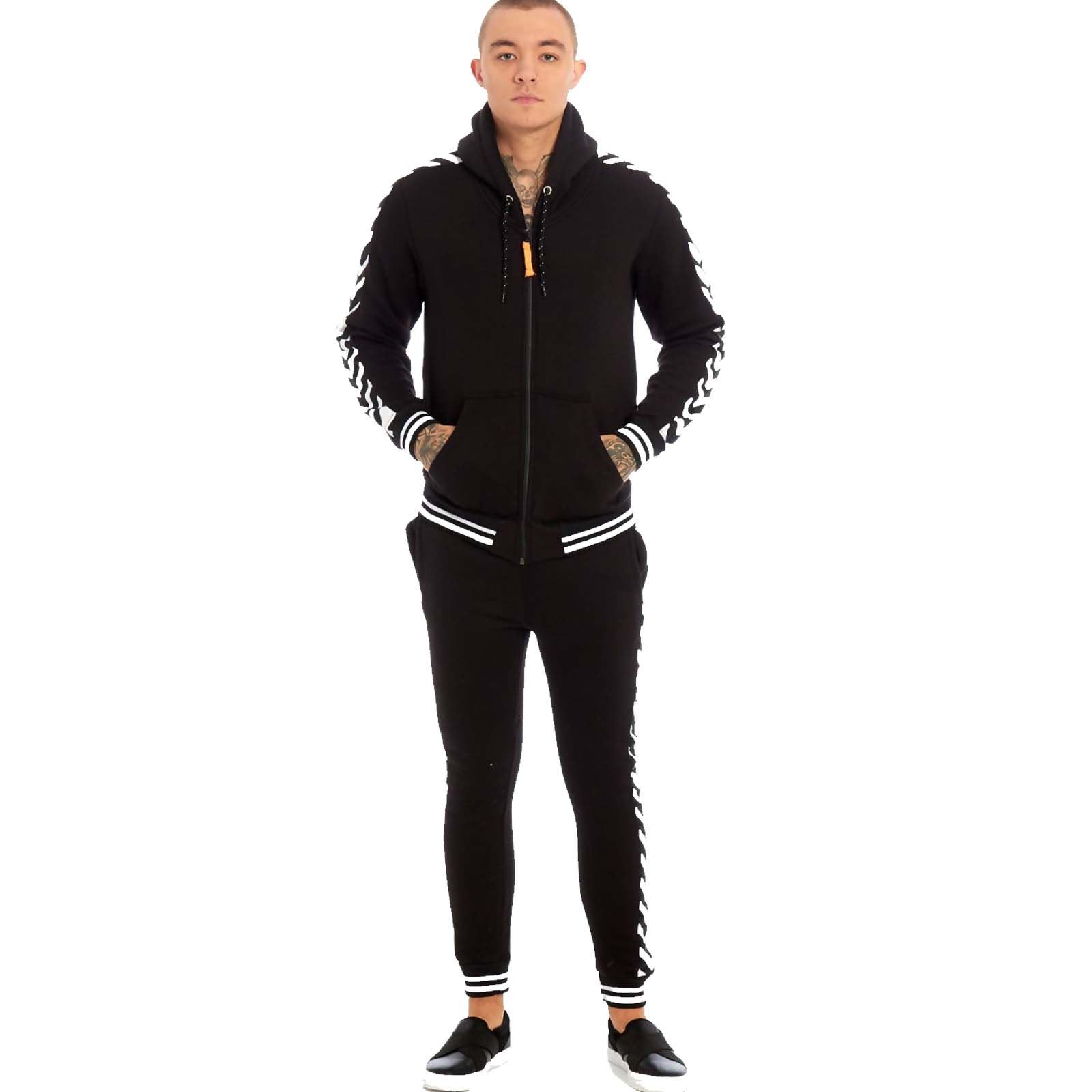 Mens Hooded Gym Fitness Sports Skinny Joggers Herringbone Full Tracksuit Set 2Pc