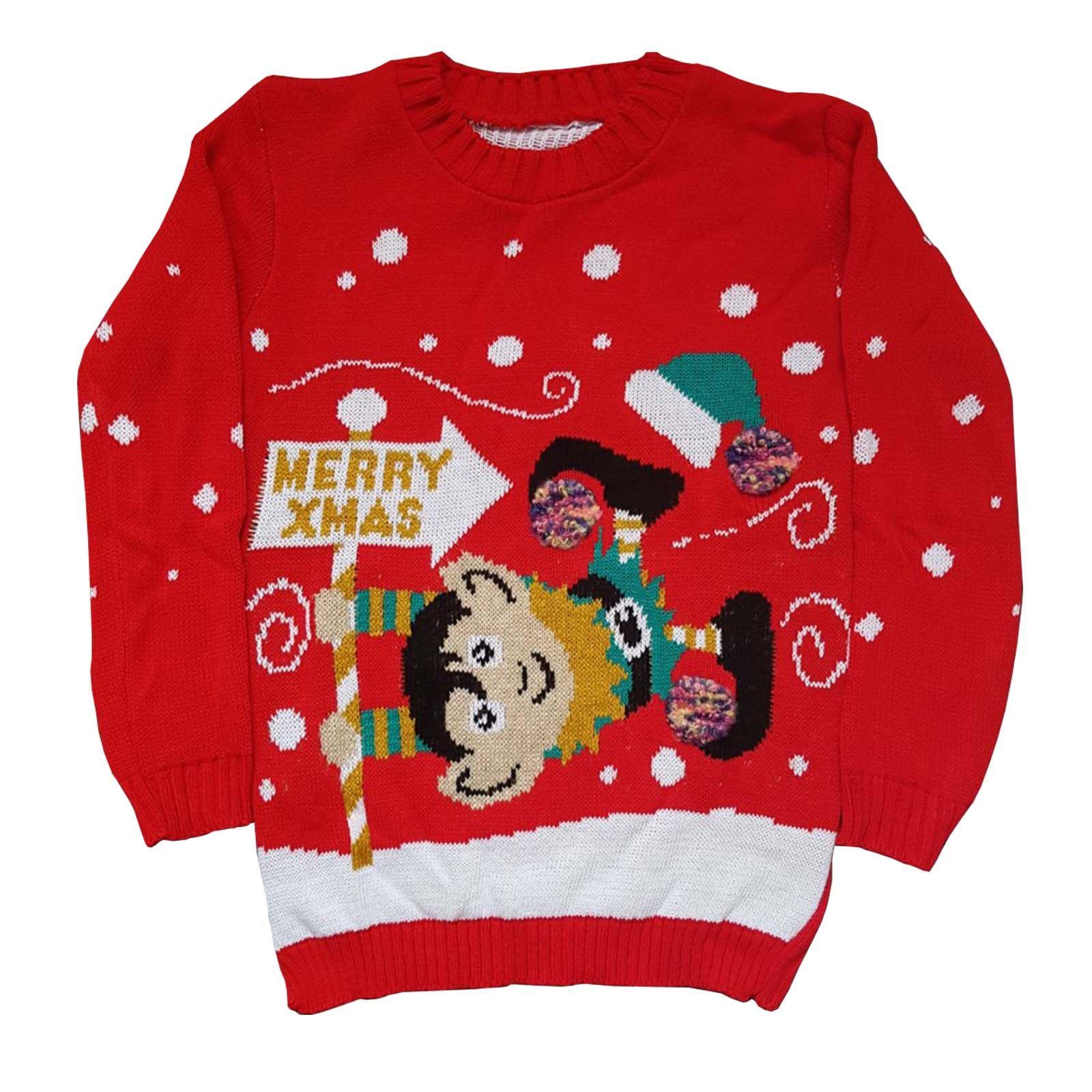 Boys Girls Rudolph Pom Pom Elf Christmas Sweater Kids Vintage ...