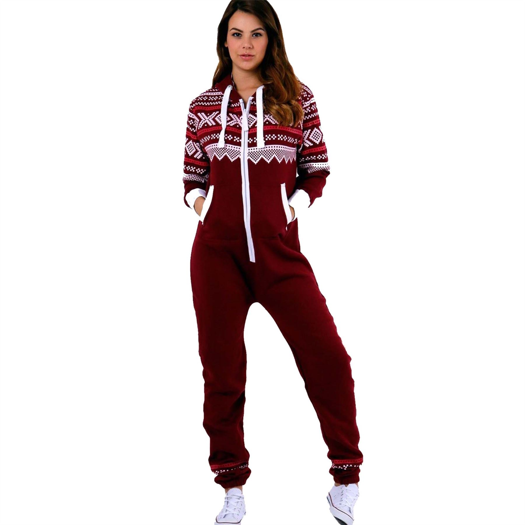 34d25eb4fefd Details about Ladies Aztec Hooded Onesie All In One Playsuit Womens Adult  Jumpsuit Not Gerber
