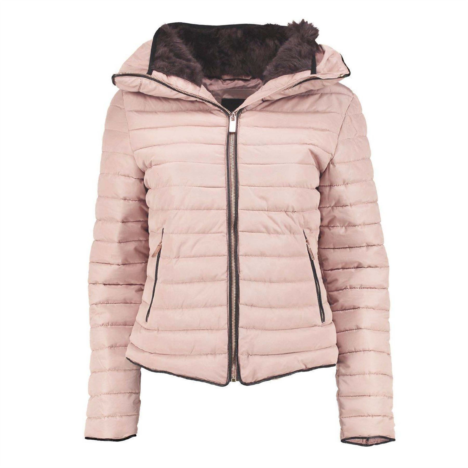 Ladies Kids Bubble Fur Collar Quilted Padded Girls Thick Warm Coat ... : quilted puffer coat - Adamdwight.com