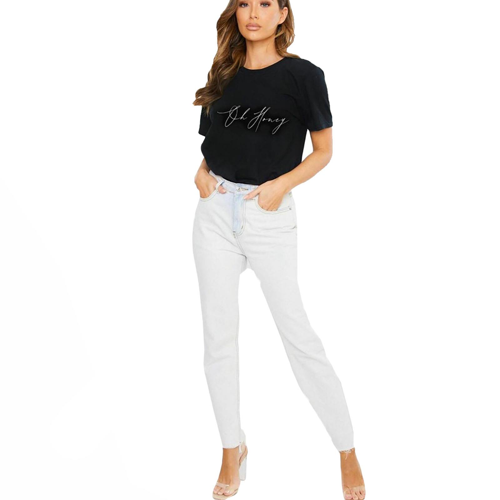 thumbnail 3 - Womens OH HONEY Slogan Fashion T-Shirt Ladies Casual Summer Short Sleeve Tops