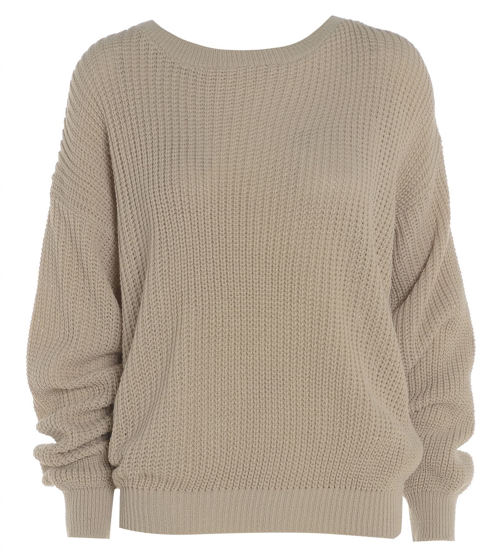 Womens Ladies PLAIN COLOUR BAGGY JUMPER Chunky Sweater Knitted ...