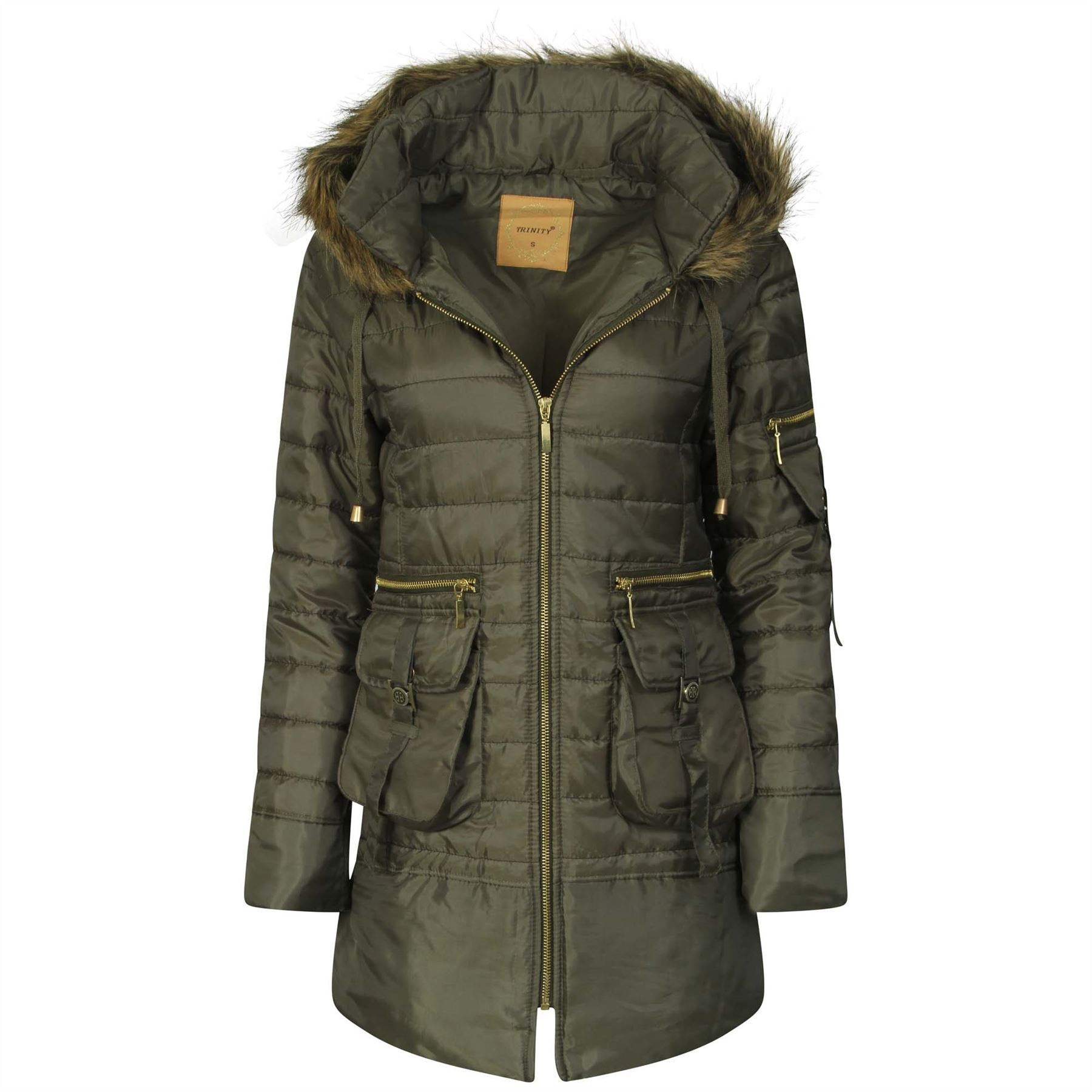 Ladies-Parka-Hooded-Padded-Jacket-Womens-Faux-Fur-Zip-Quilted-Trench-Coat-S-XL