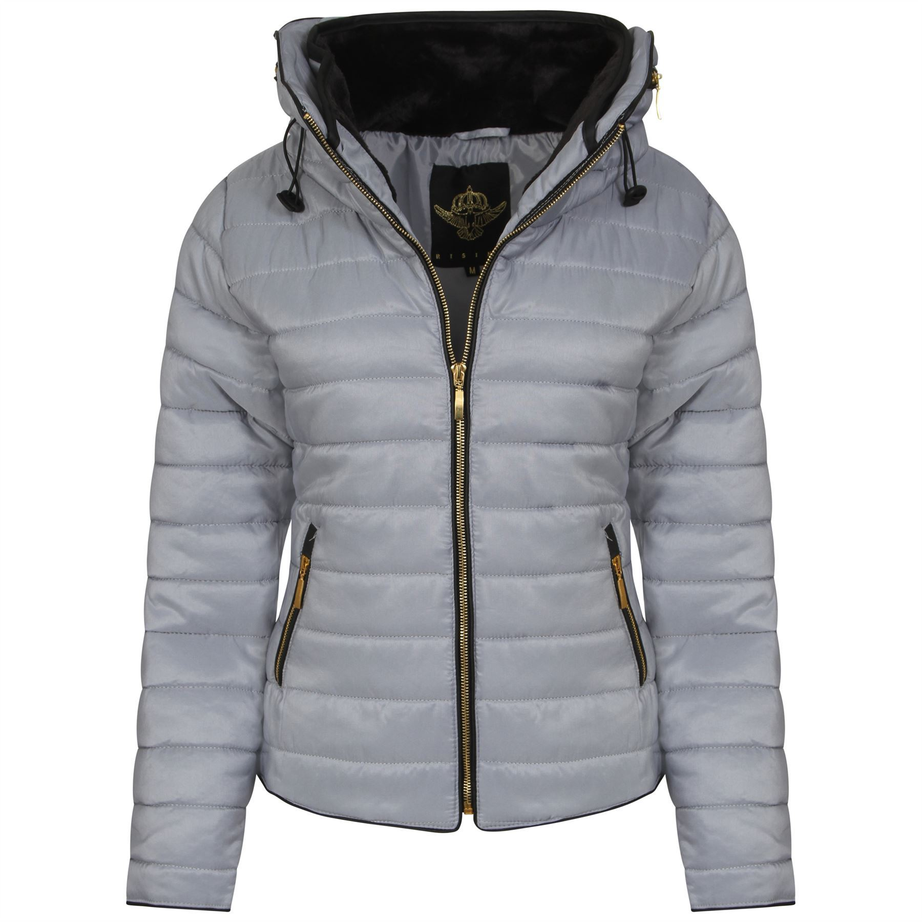 Ladies Thick Warm Quilted Padded Bubble Fur Hooded Womens