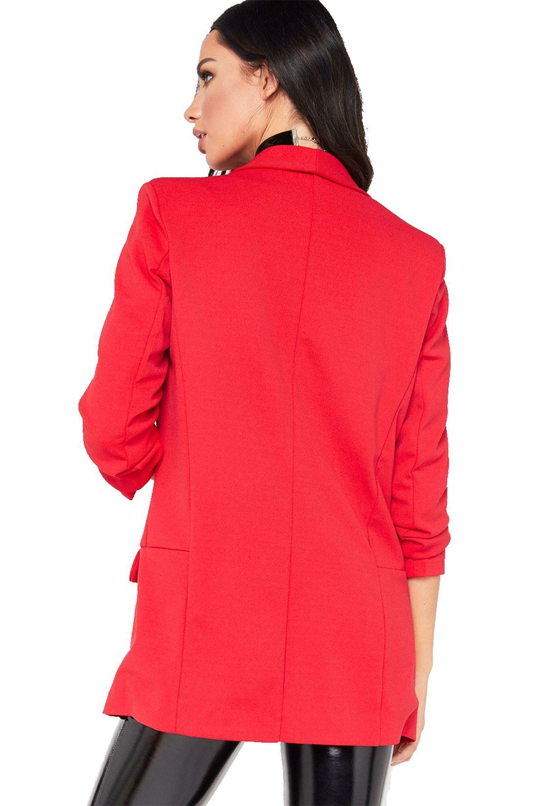 Ladies Women Plain Open Ruffle Frill Coat Jacket Duster 3//4 Sleeve Blazer Tops