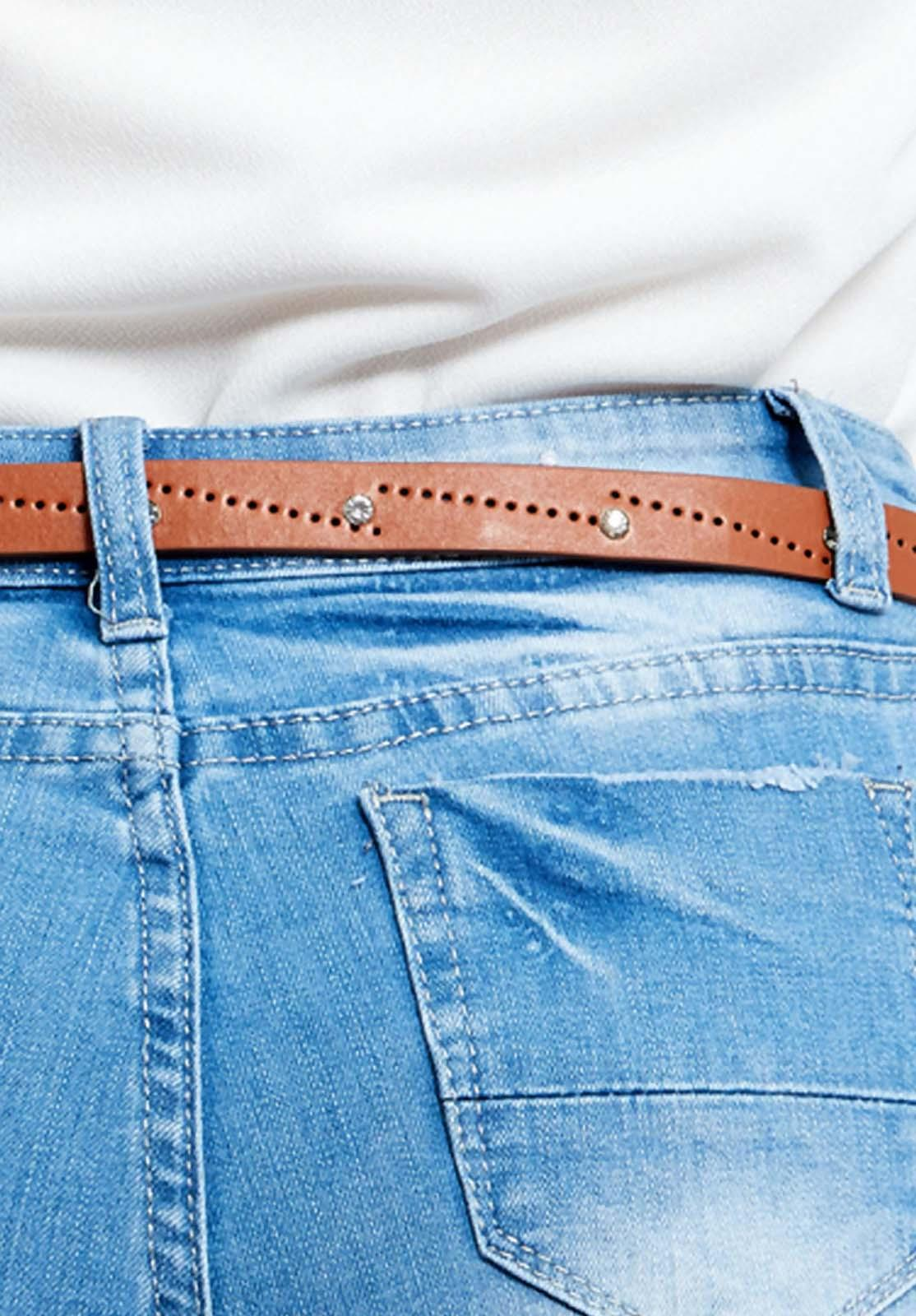 Ladies Brown Diamante Jeans Narrow Buckle Belt Womens Leather Thin Waist Strap
