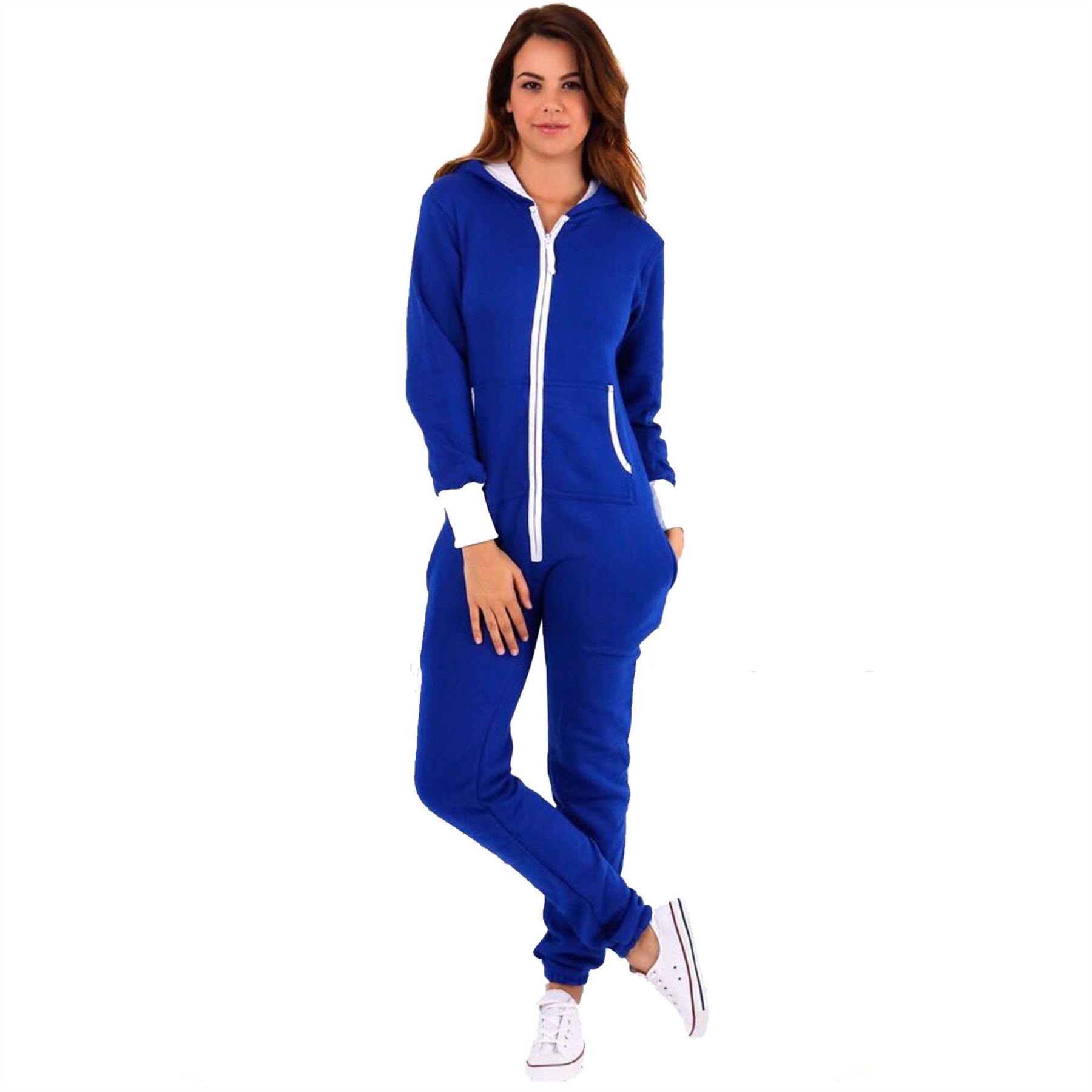 c1c8aae95ee Details about Womens Ladies Adult Hooded Plain Onesie Not Gerber All In One  Playsuit Jumpsuit