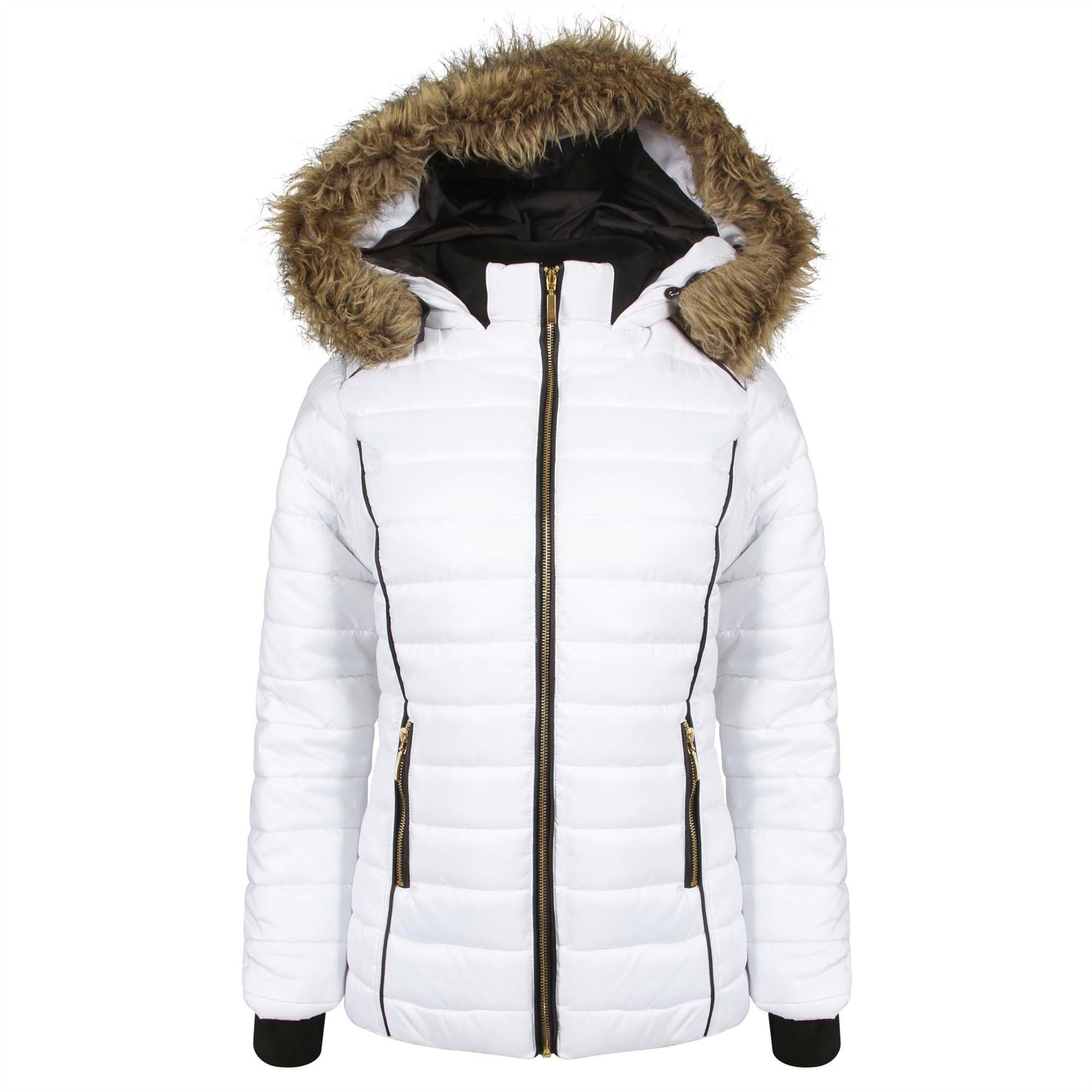 Ladies Girls Padded Bubble Fur Hood Puffer Jacket Womens Thick ... : white quilted coat - Adamdwight.com