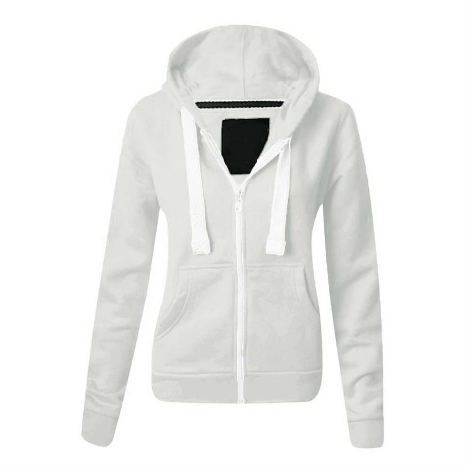 Femme Couleur Uni à Capuche Veste à Capuche Fermeture Fermeture Capuche éclair Hoody Fleece Sweatshirt 49001d