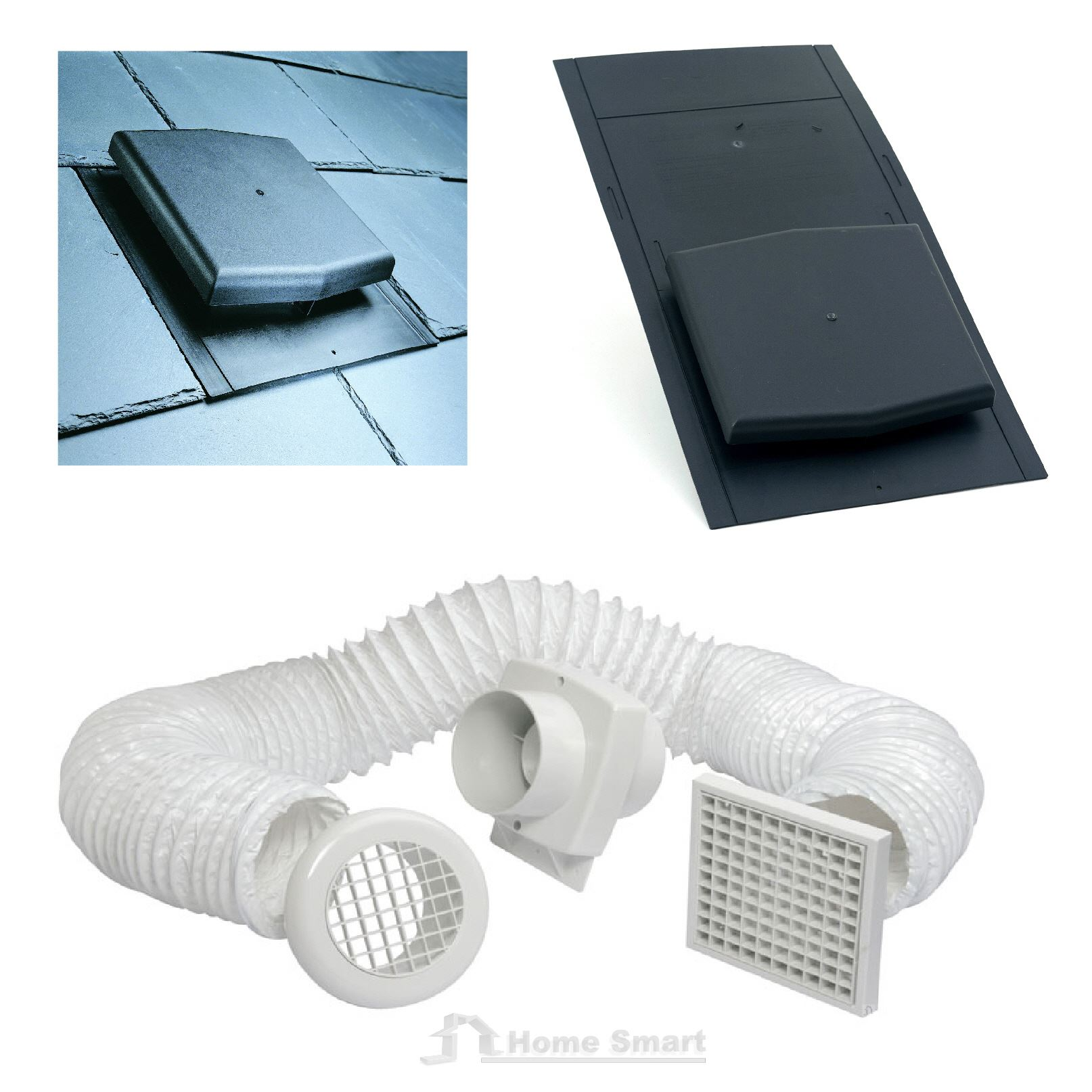 Slate Roof Tile Vent Inline Timer Extractor Shower Fan