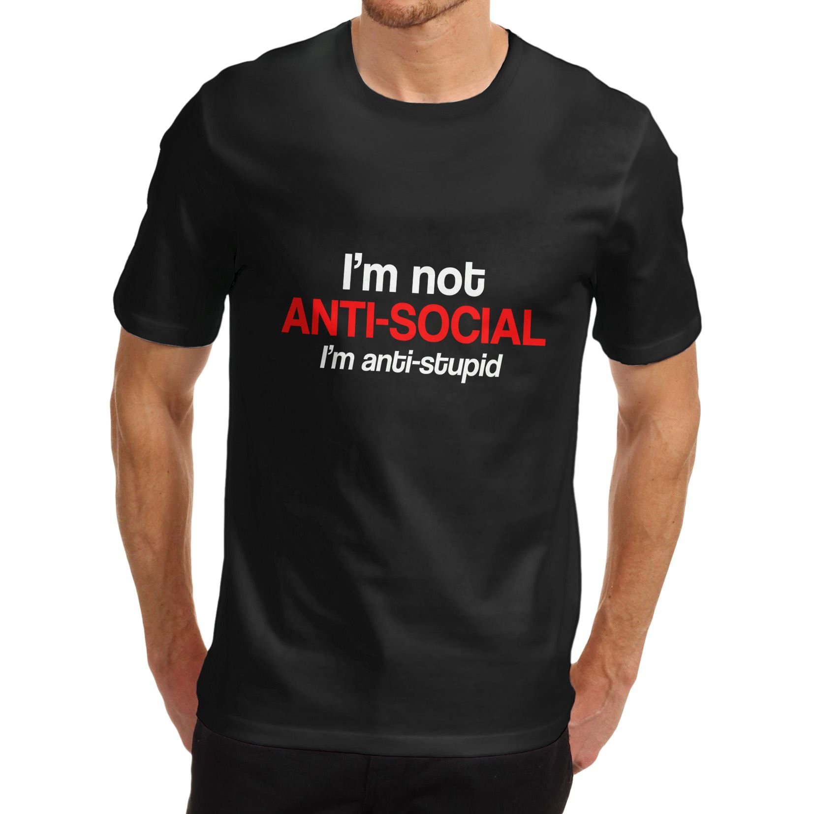 c73f2f44e Details about Twisted Envy Men's I'm Not Anti Social I'm Anti Stupid Funny T -Shirt