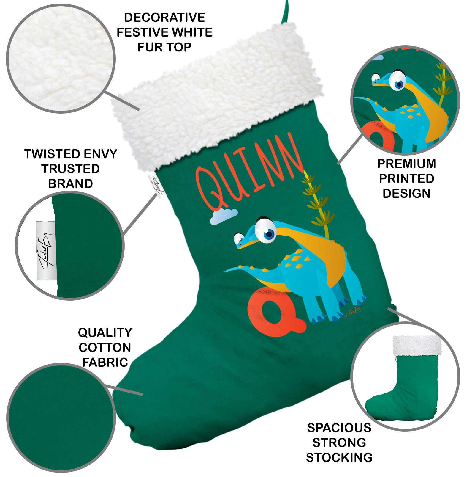 Personalised Baby Dinosaur Letter Q Green Christmas Stocking With White Trim