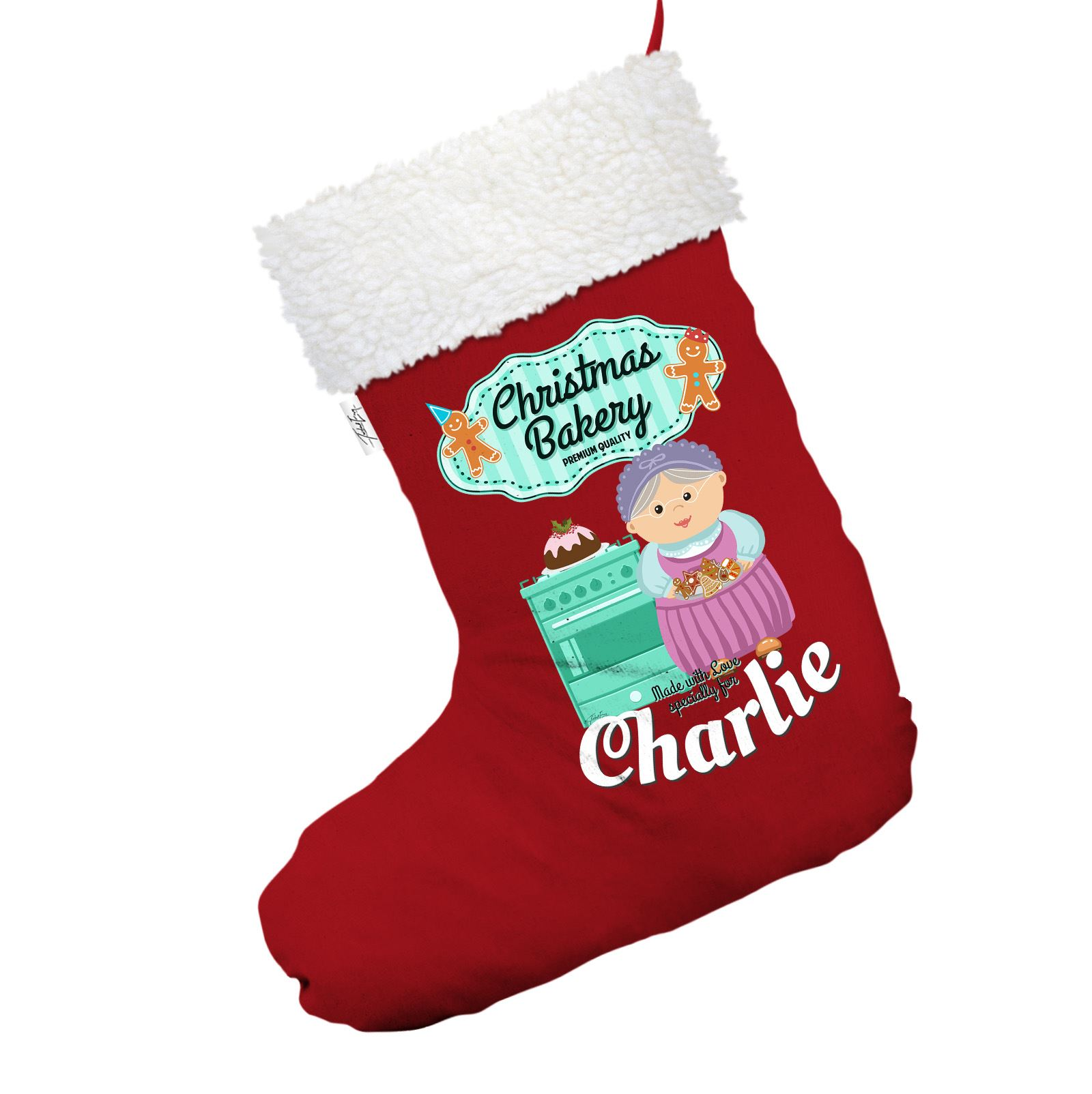 Details About Grandma S Gingerbread Cookies Personalised Red Christmas Stocking White Trim