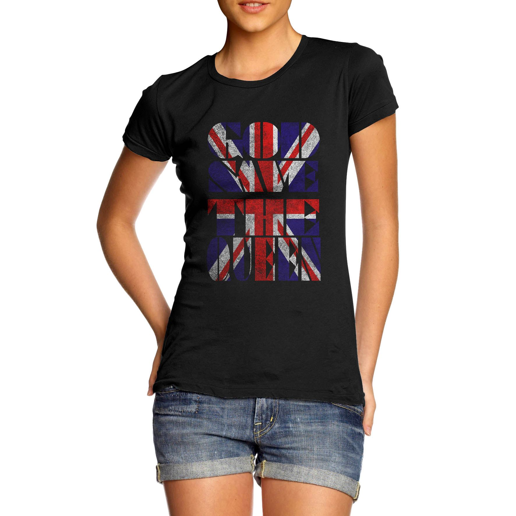 Women-039-s-Union-Jack-God-Save-the-Queen-Printed-T-Shirt