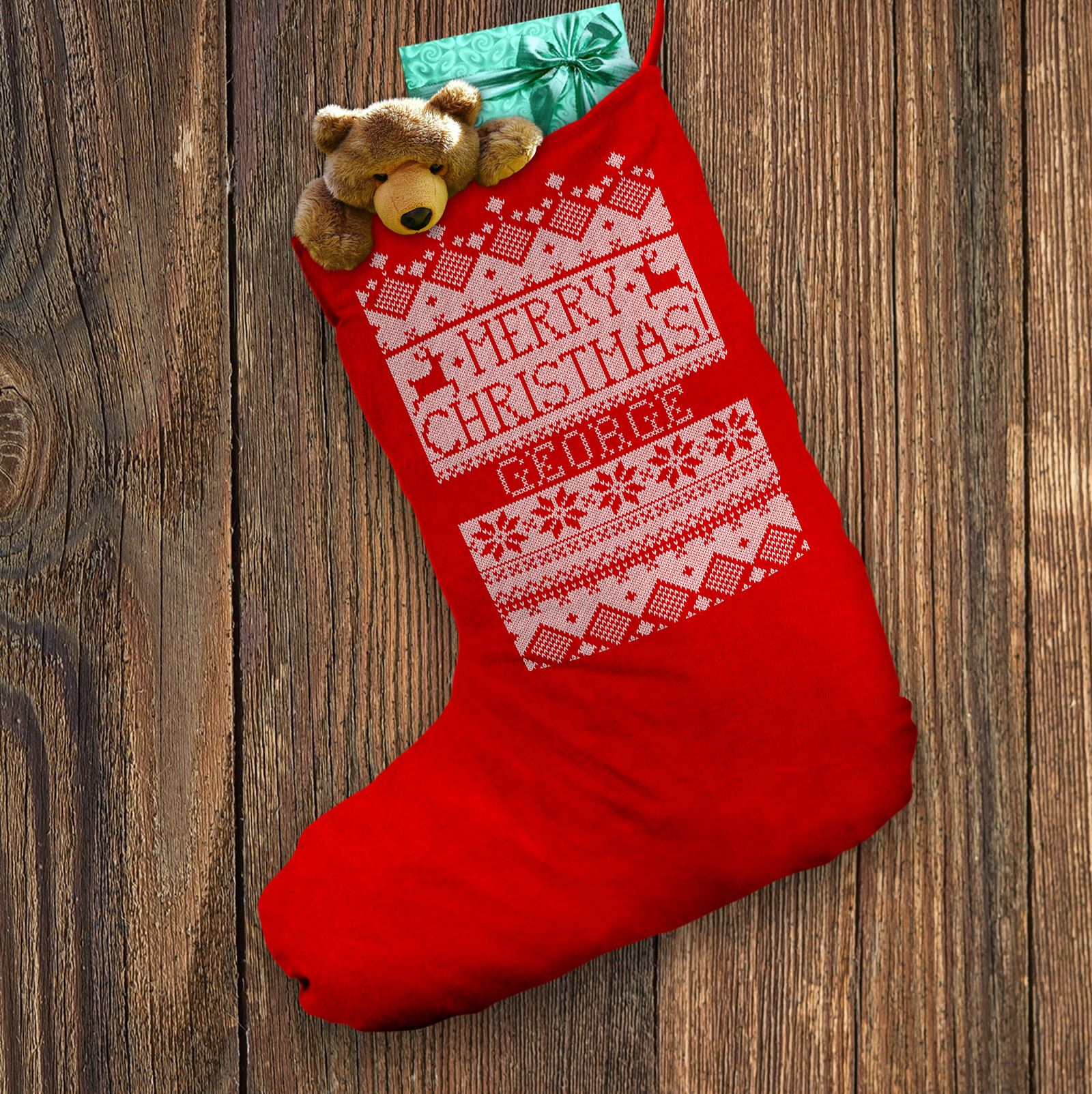 Personalised Christmas Stocking Merry Christmas Knit Effect Pattern ...
