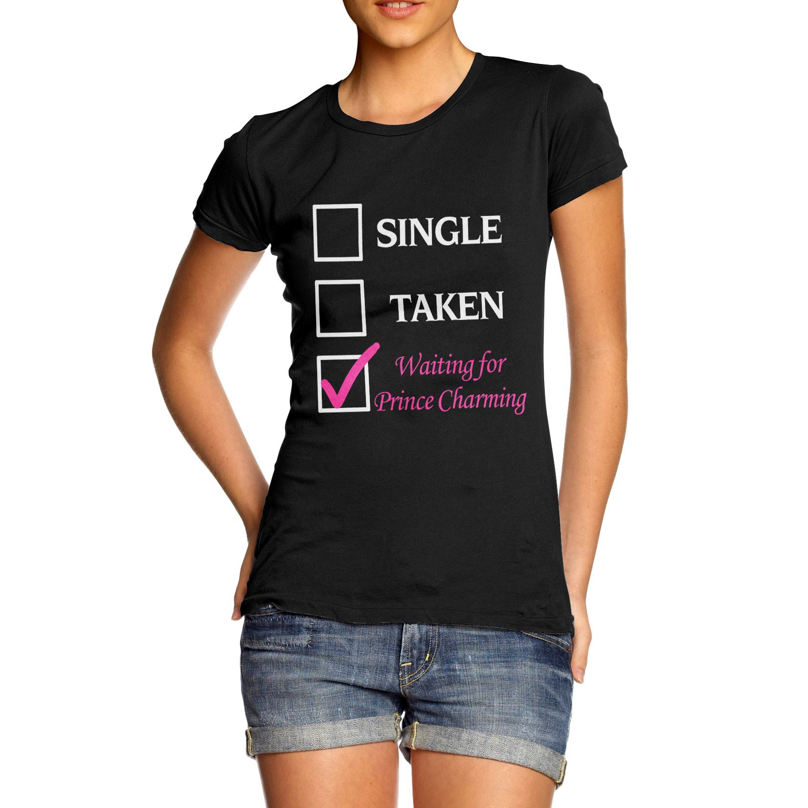 Black t shirt for ladies - Women 039 S Relationship Status Waiting For Prince