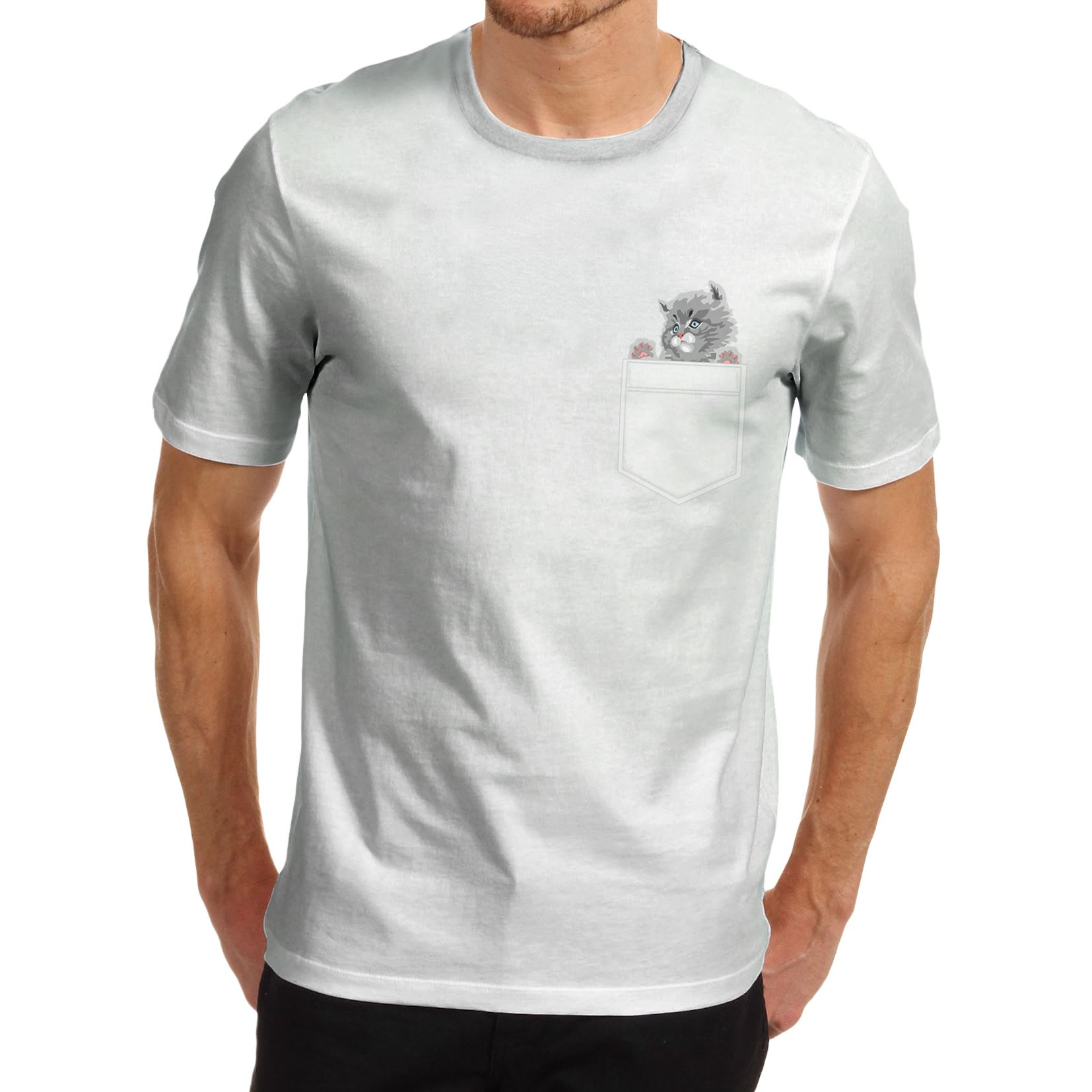 Men s Cat In A Pocket Cute Funny Graphic T Shirt