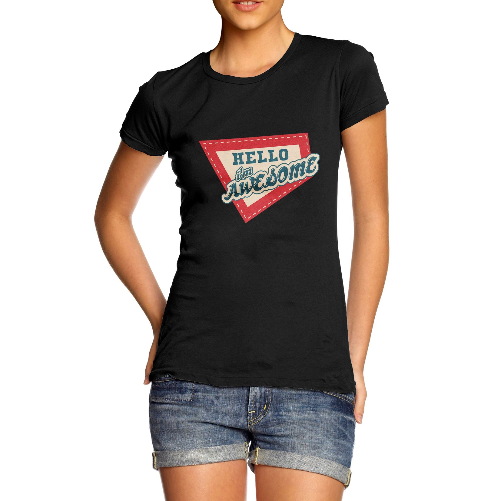 5fea235b7656 Details about Twisted Envy Women's Hello I'm Awesome Funny T-Shirt