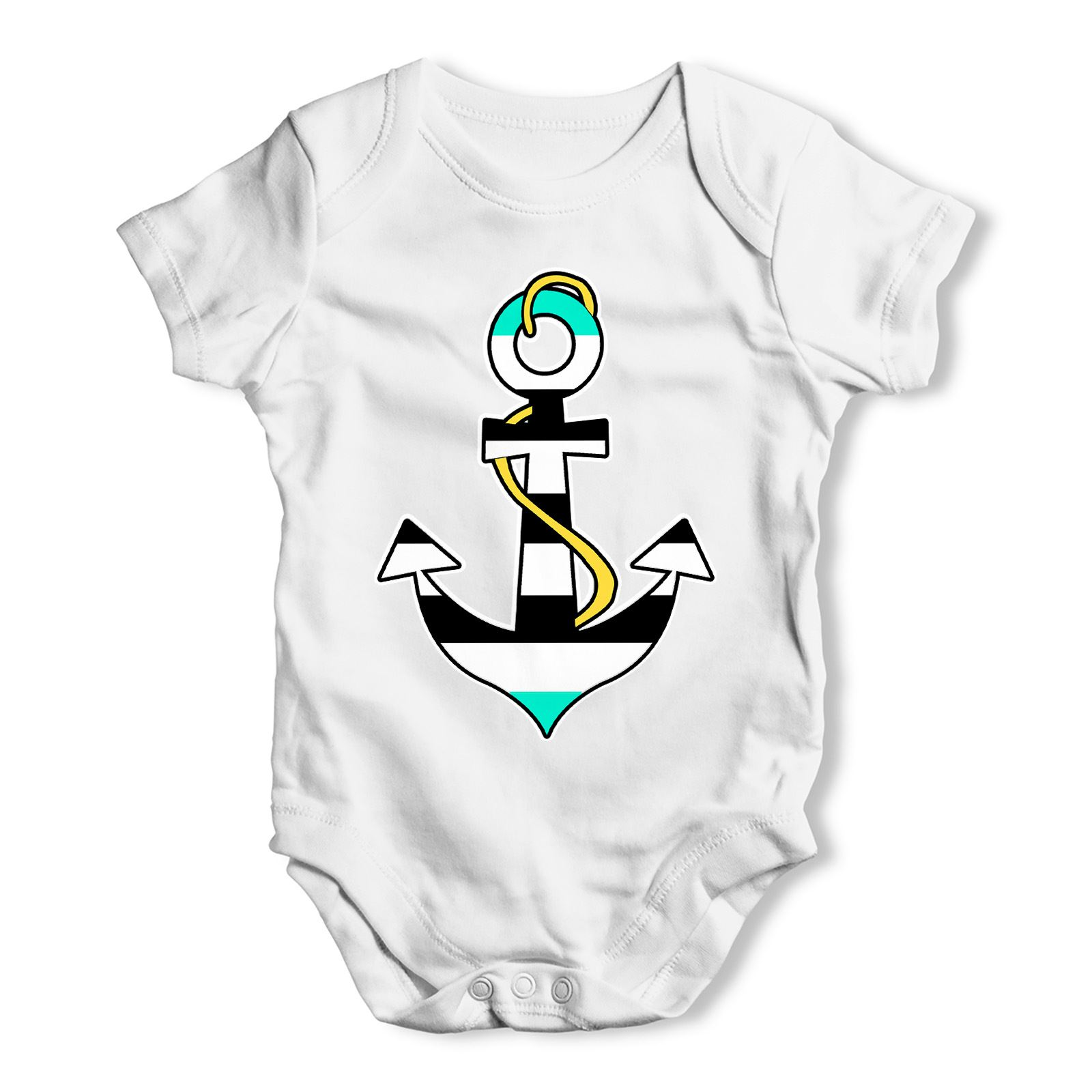 Twisted Envy Personalised Blue Anchor Baby Unisex Funny Baby Grow Bodysuit