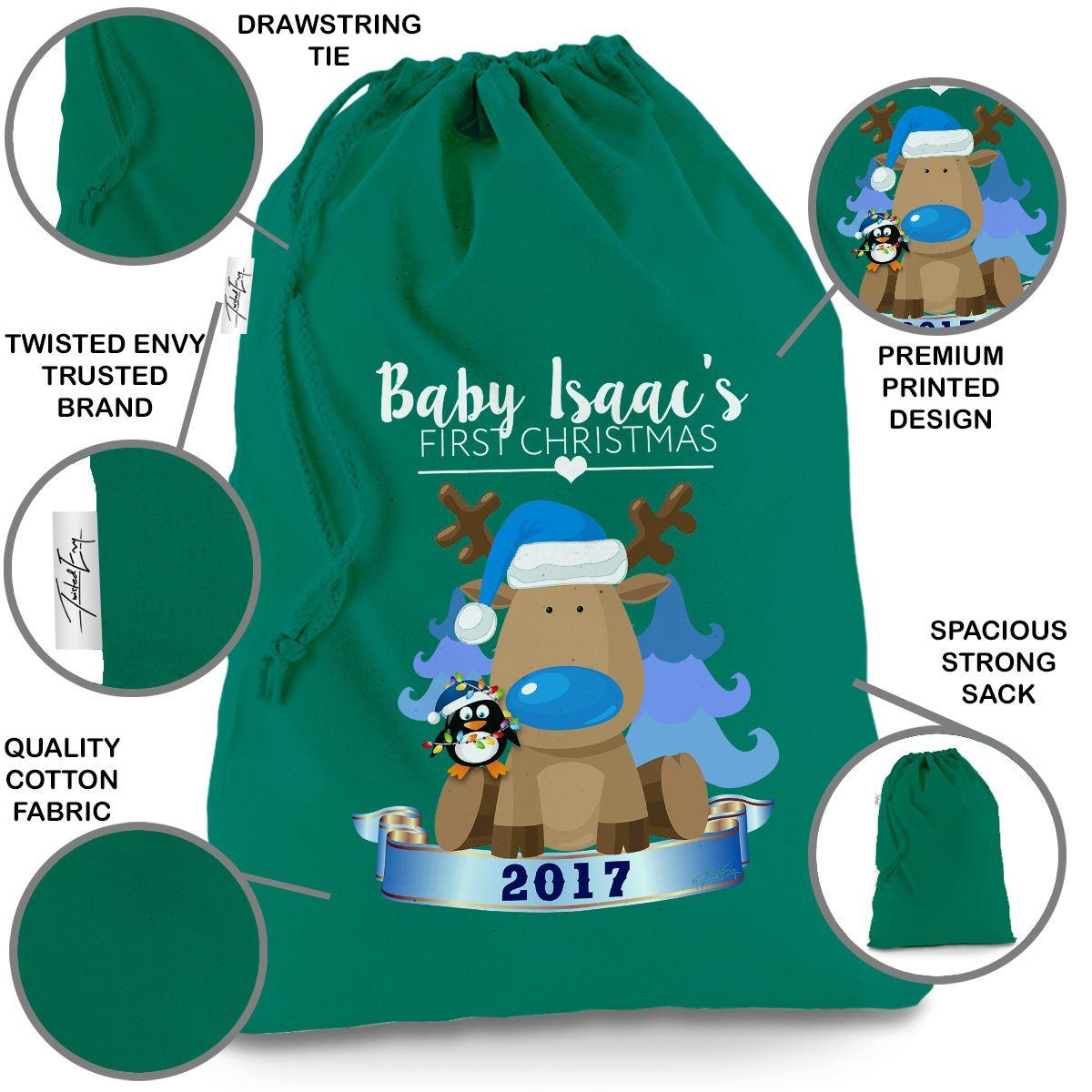 baby 039 s first christmas blue reindeer personalised