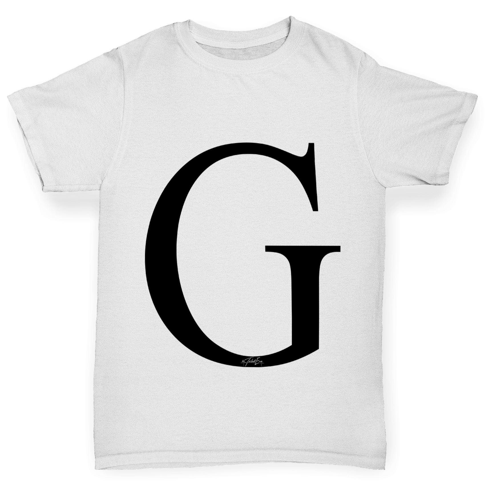 Twisted envy girl 39 s alphabet monogram letter g t shirt ebay for Cute greek letter shirts