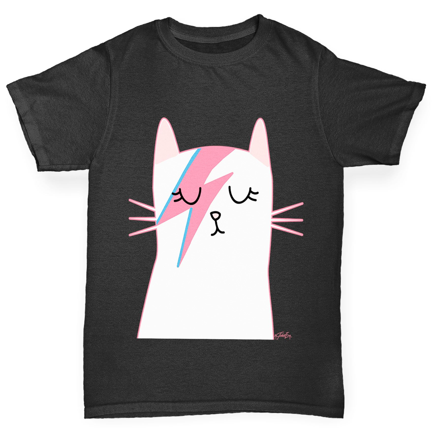 Twisted Envy Girl s Rock And Roll Cat Printed Cotton T Shirt