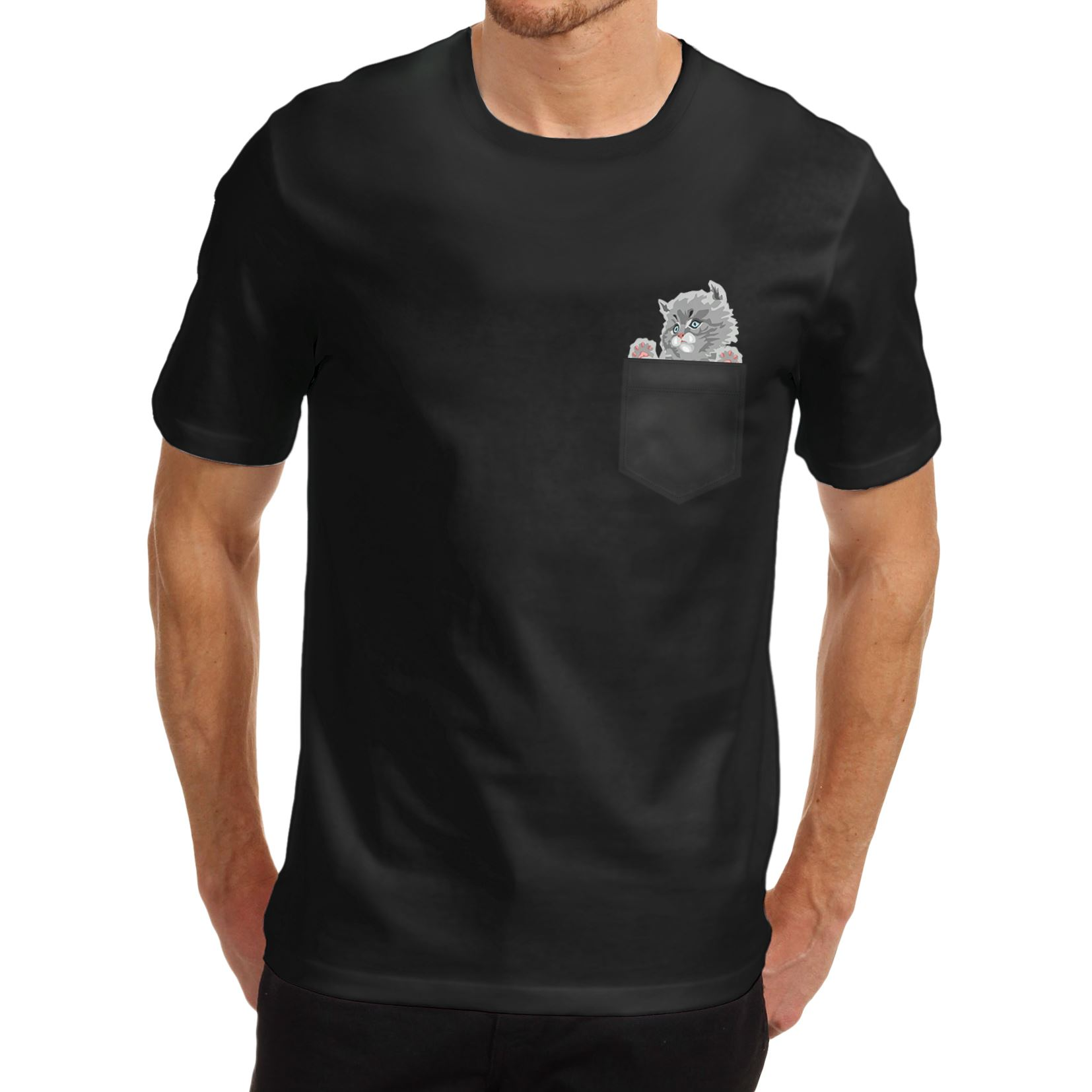 Black t shirt with pocket - Men 039 S Cat In A Pocket Cute
