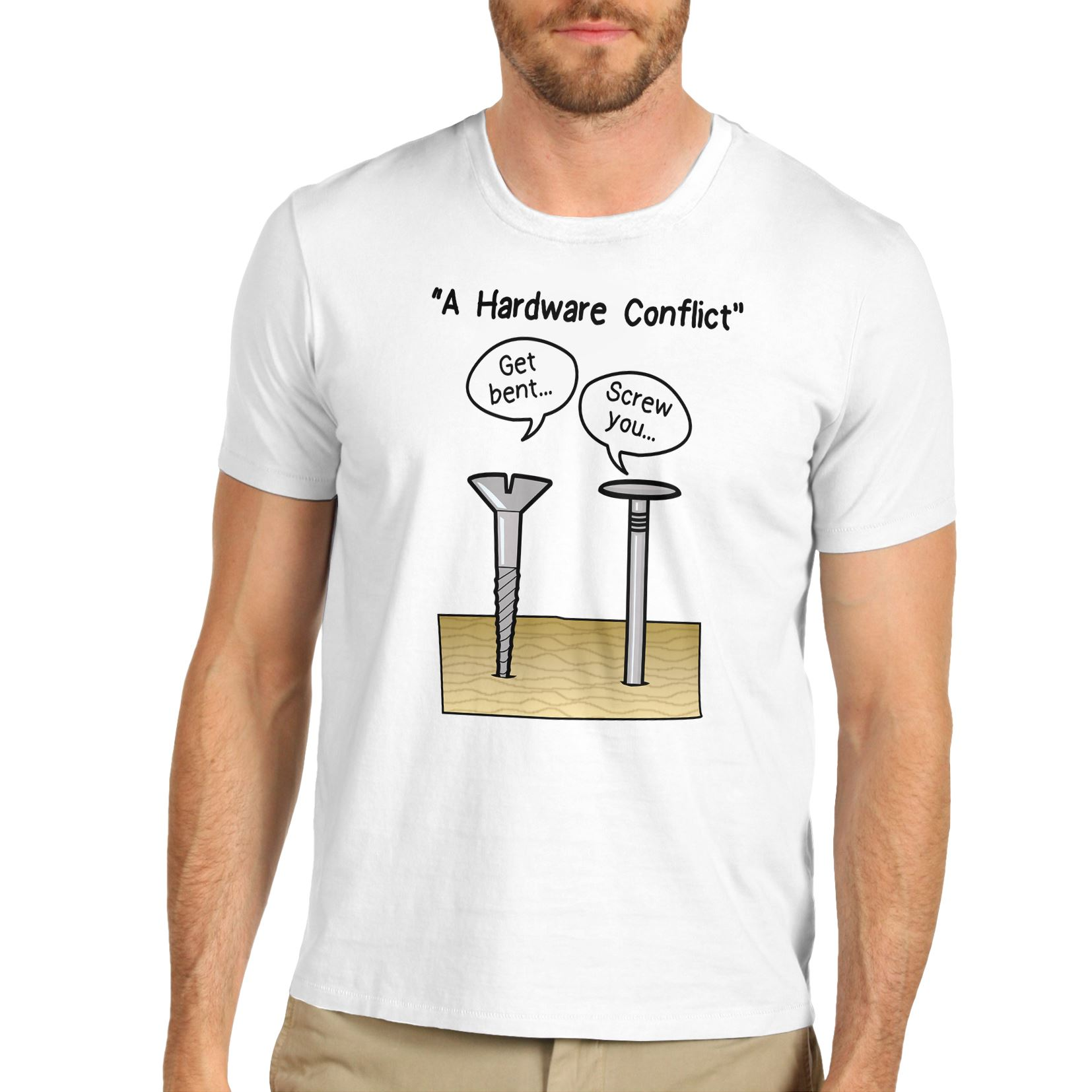 Twisted envy men 39 s a hardware conflict funny t shirt ebay for Silly shirts for men