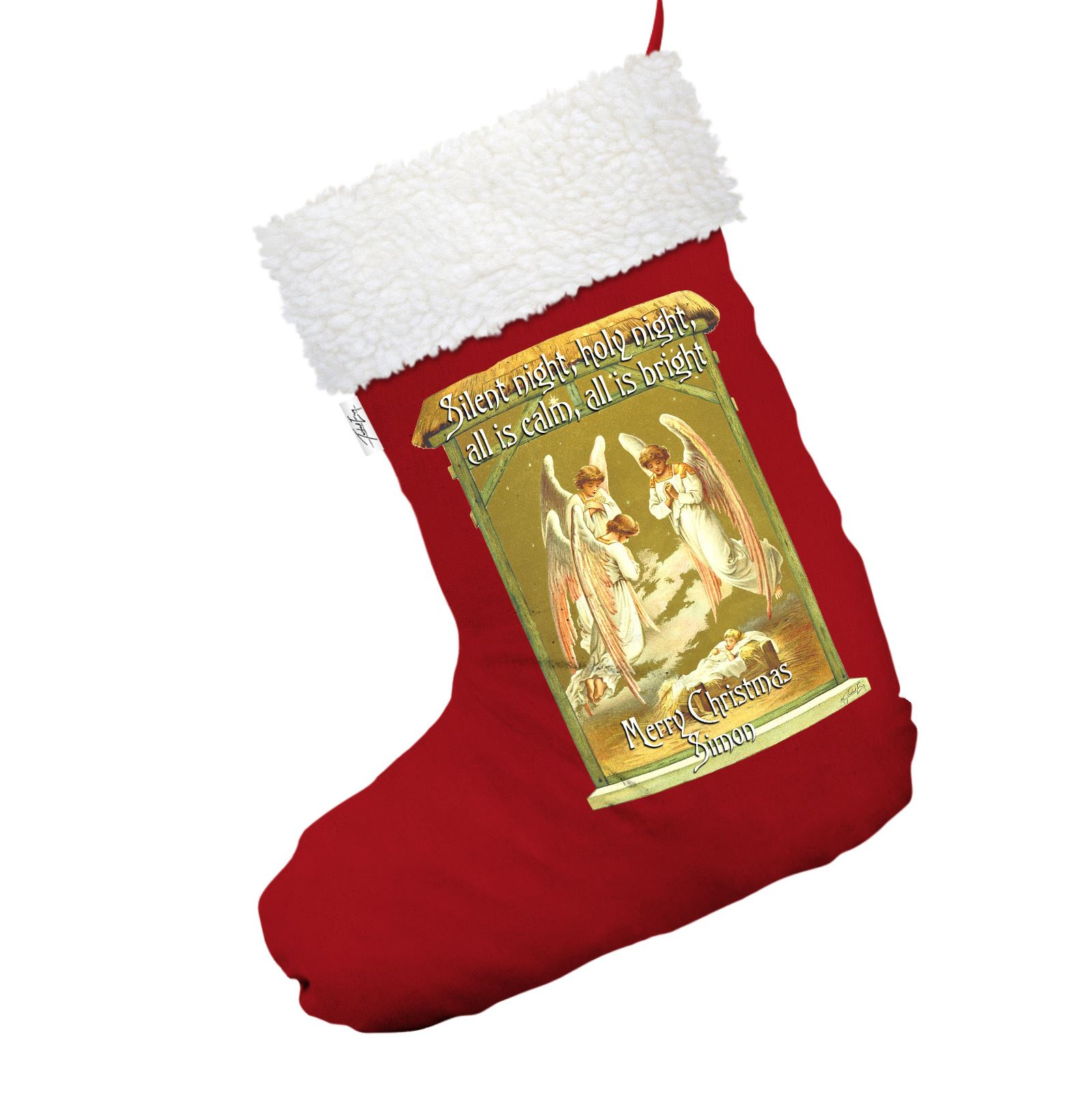 Victorian Christmas Stockings.Details About Victorian Christmas Angels Personalised Red Christmas Stocking With White Trim
