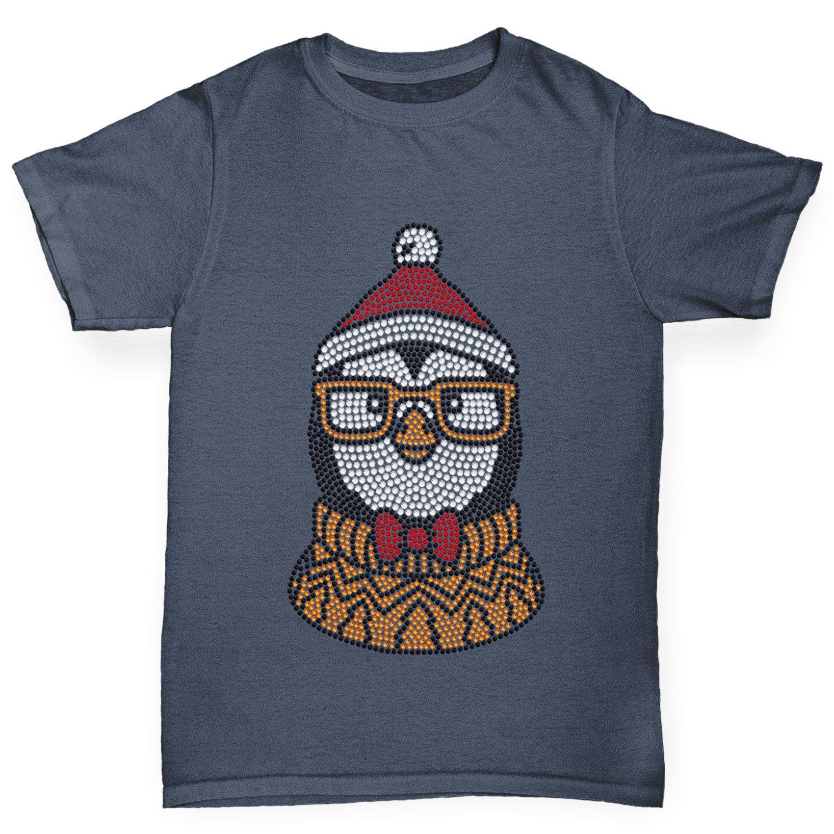 Twisted-Envy-Boy-039-s-Hipster-Xmas-Penguin-Rhinestone-T-Shirt