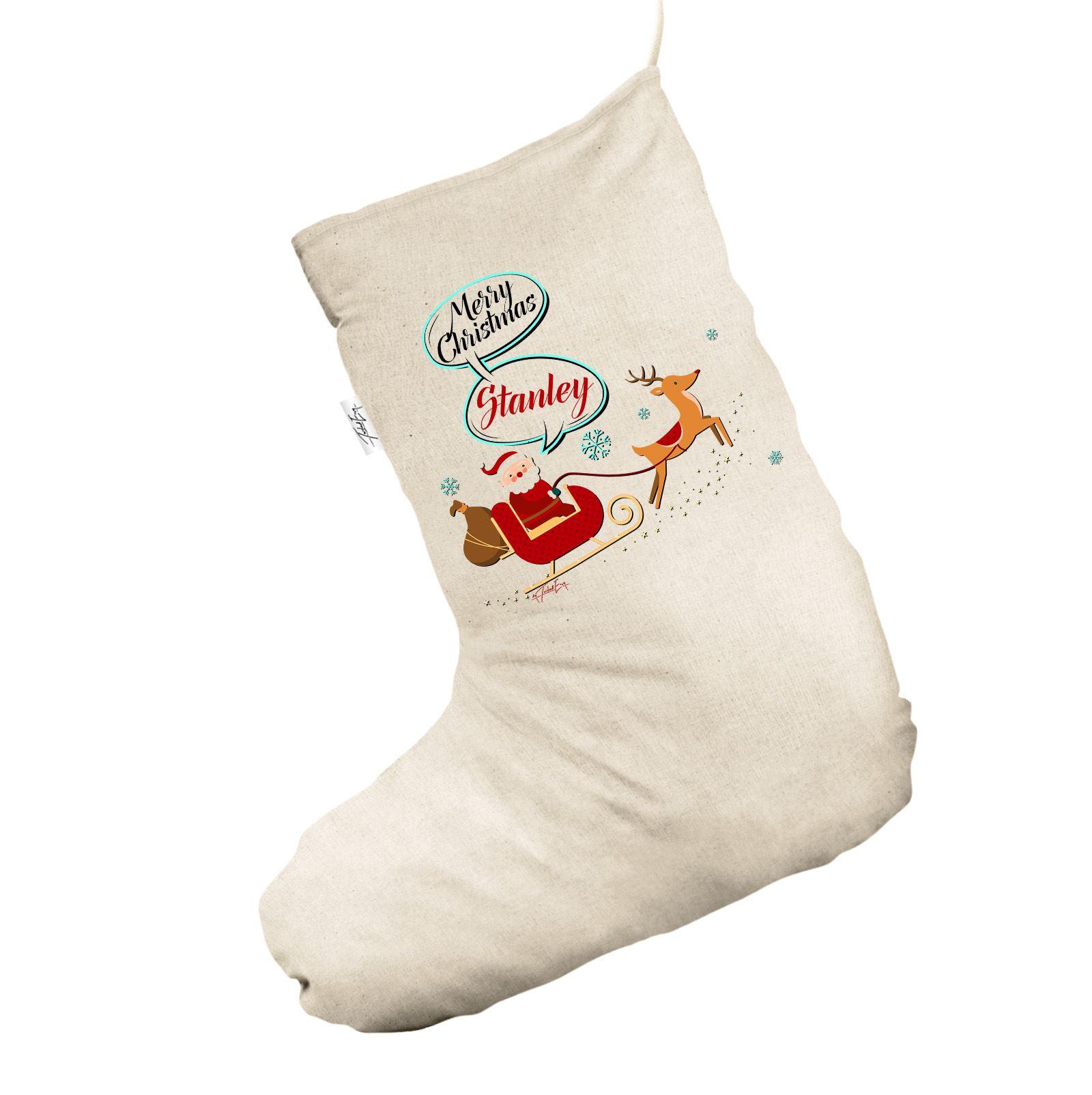 6fc4914851d Santa and Rudolph Personalised Jumbo Natural Christmas Stocking Gift ...