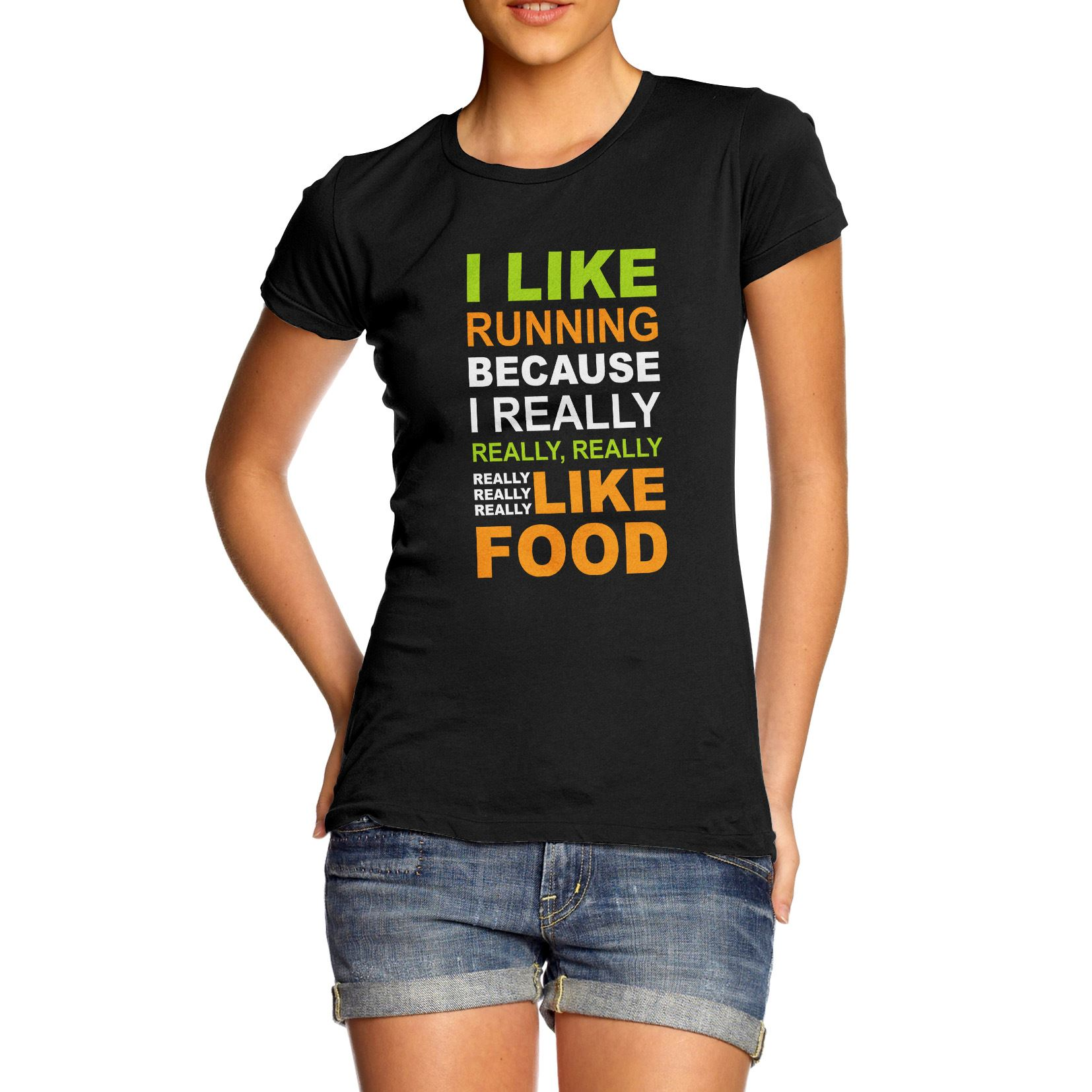 Twisted-Envy-Women-039-s-I-Like-Running-Because-I-Like-Food-Funny-T-Shirt