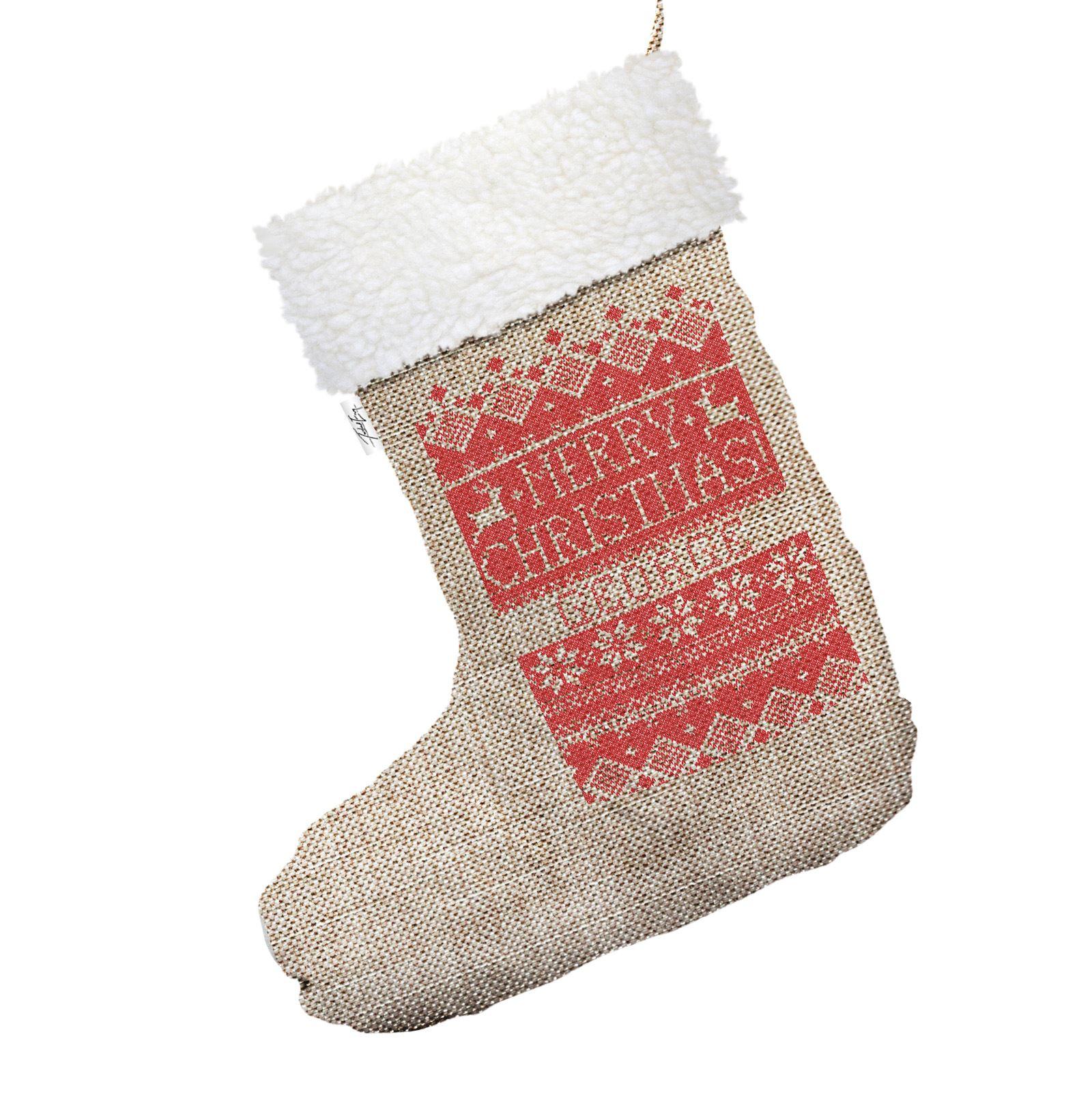 Christmas Knit Pattern Personalised Hessian Christmas Stocking White ...