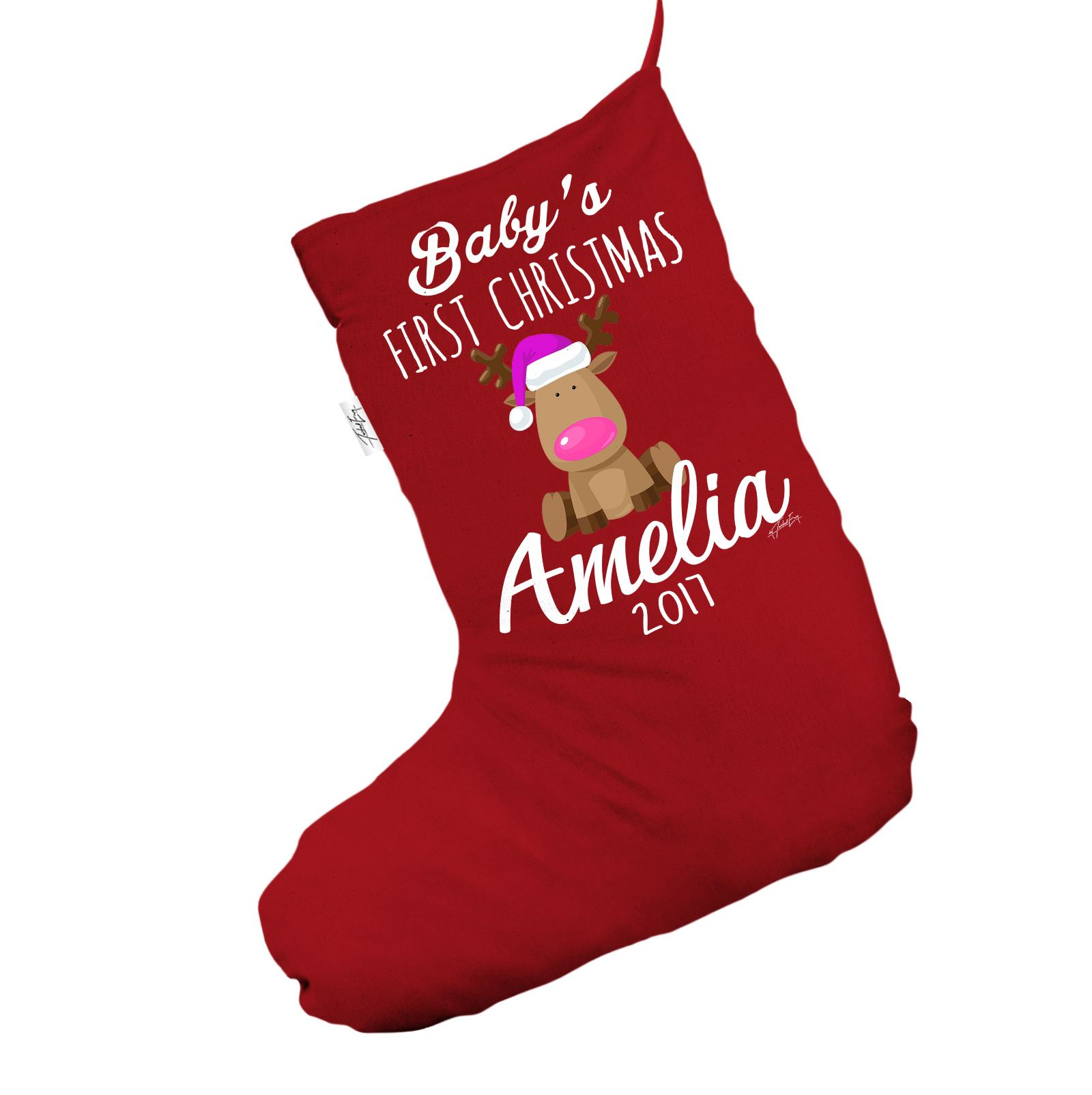 personalised christmas stocking pink baby 039 s first