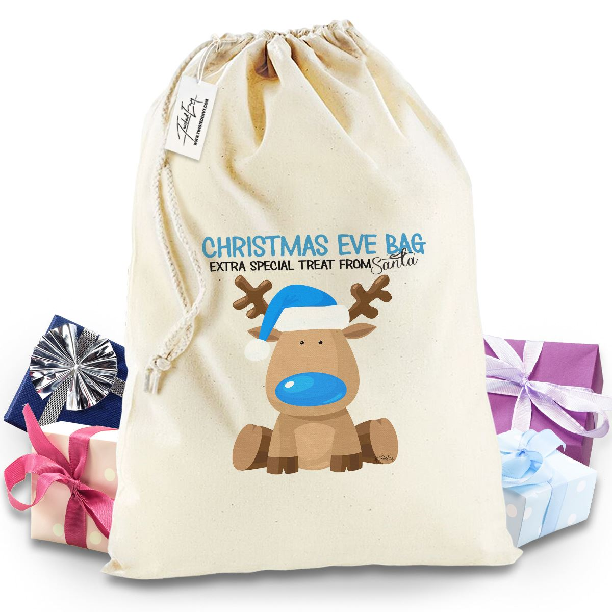 New Reindeer Blue Boy Christmas Eve Christmas Sack Present Bag Santa ...
