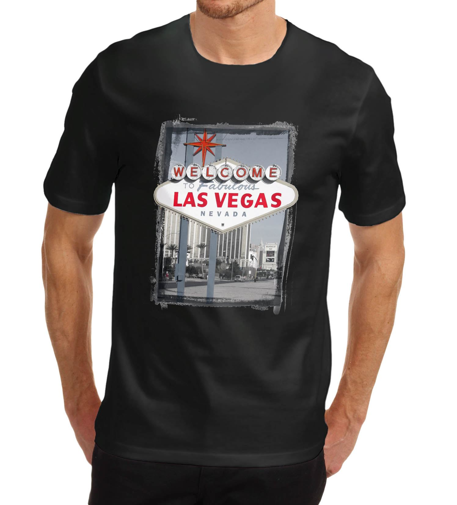 Men-039-s-Welcome-to-Las-Vegas-Iconic-sign-Printed-T-Shirt Indexbild 3