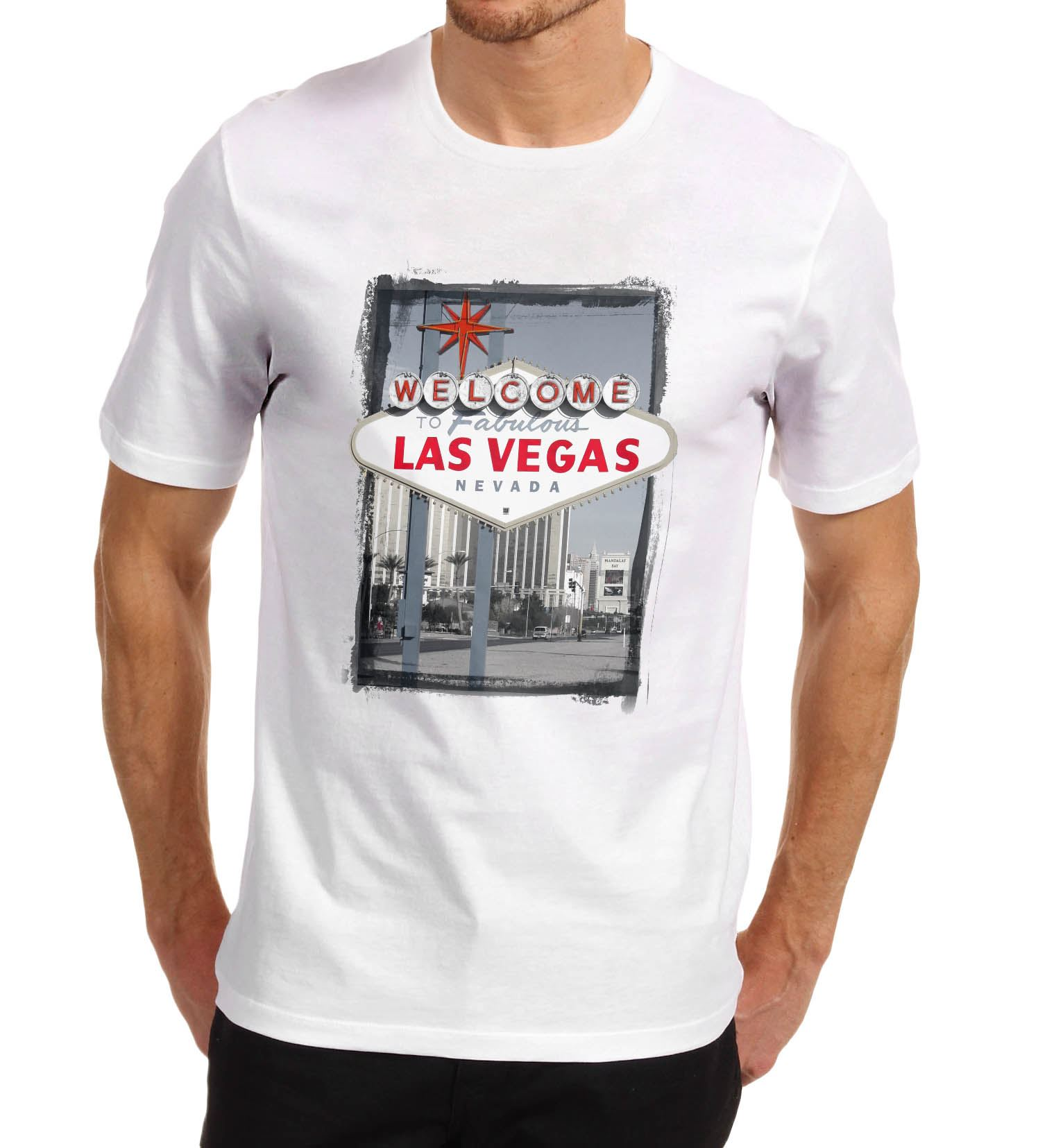 Men-039-s-Welcome-to-Las-Vegas-Iconic-sign-Printed-T-Shirt Indexbild 9