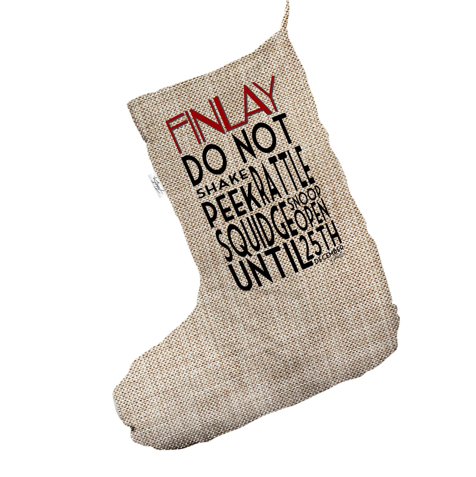 Personalised Do Not Open Until 25th Jumbo Hessian Christmas Stocking ...
