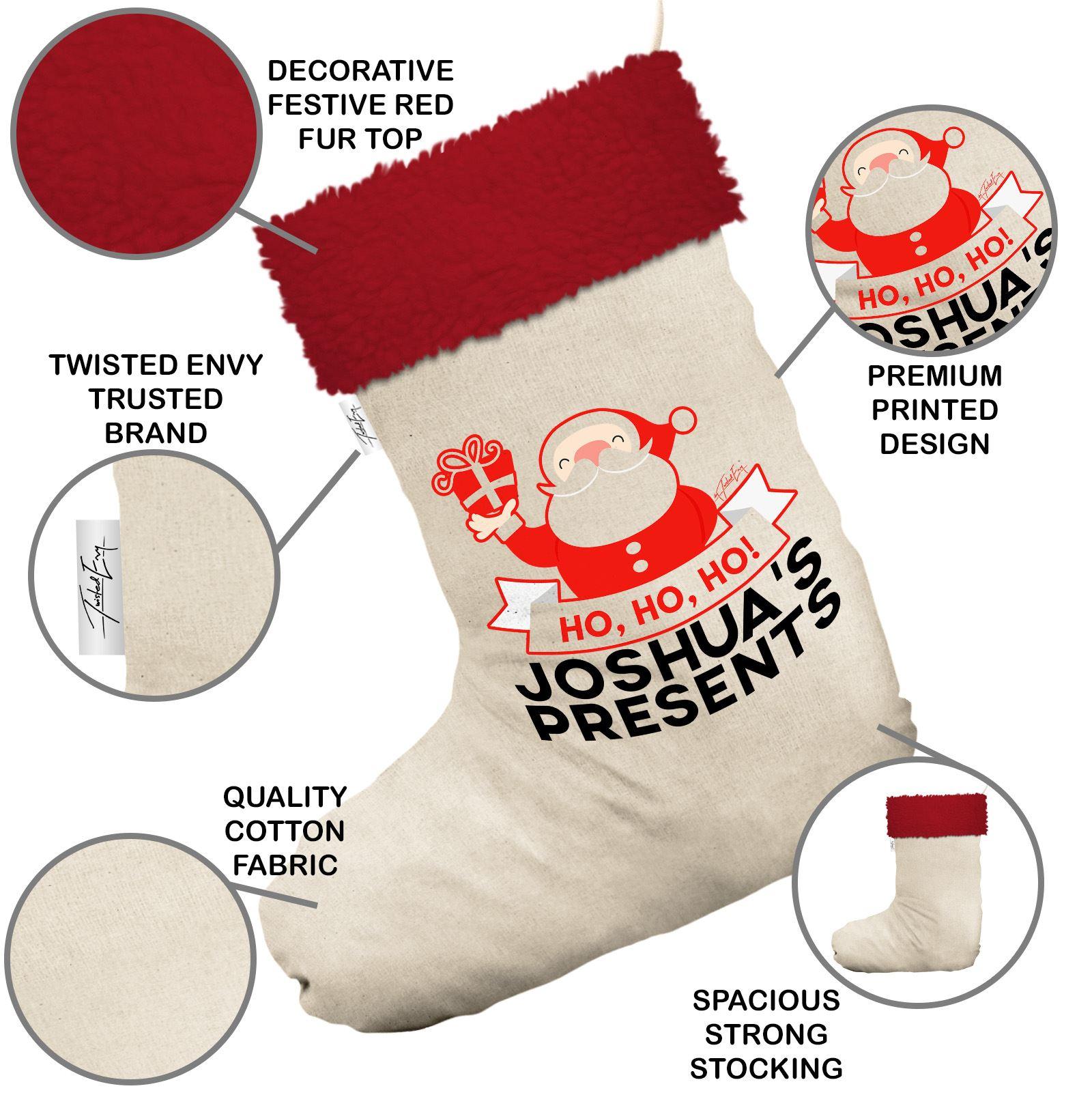 Happy Santa Present Personalised White Christmas Stockings Socks Red ...