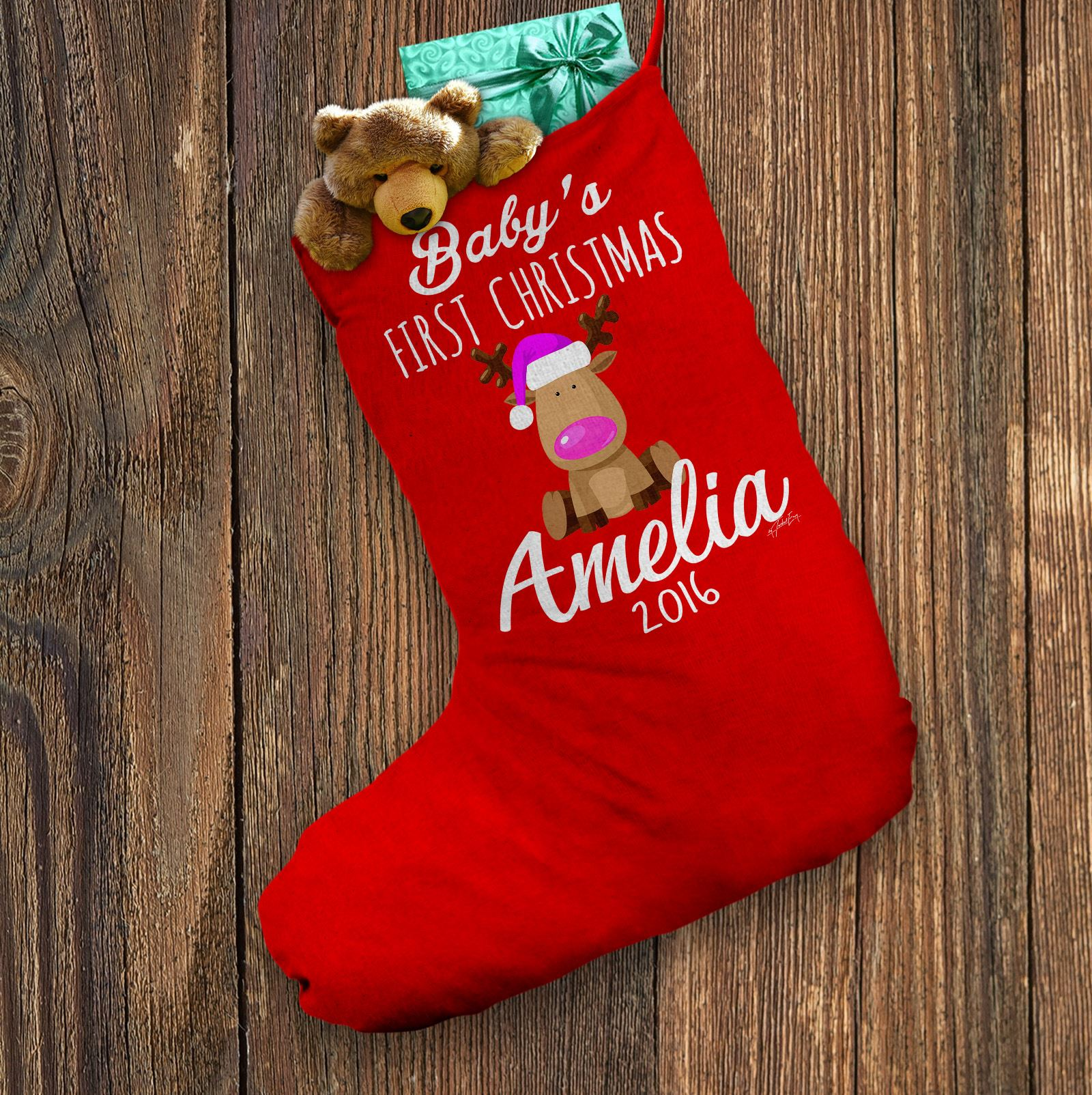 Personalised Santa Stocking Baby/'s First Christmas Rudolph White