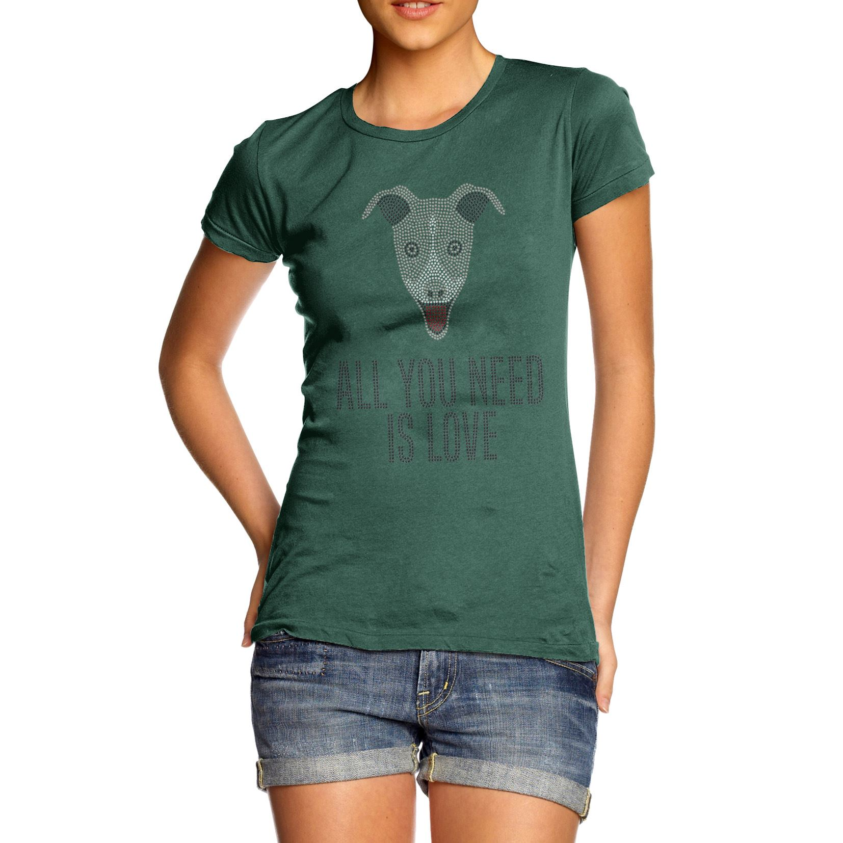 Women-039-s-All-You-Need-Is-Love-And-A-Grey-Hound-Rhinestone-Diamante-T-Shirt