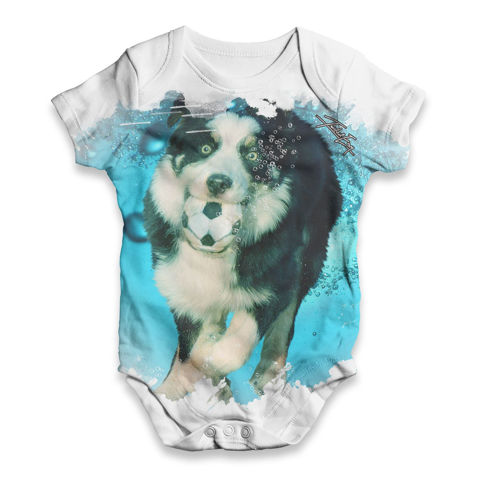 Underwater Border Collie Dog Baby Uni Funny ALL OVER PRINT Baby