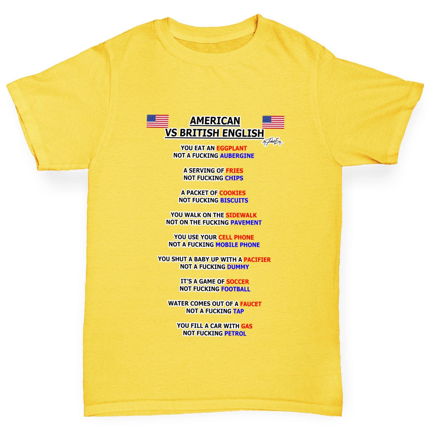 Twisted Envy Girl\'s American Vs British English Grammar T-Shirt | eBay