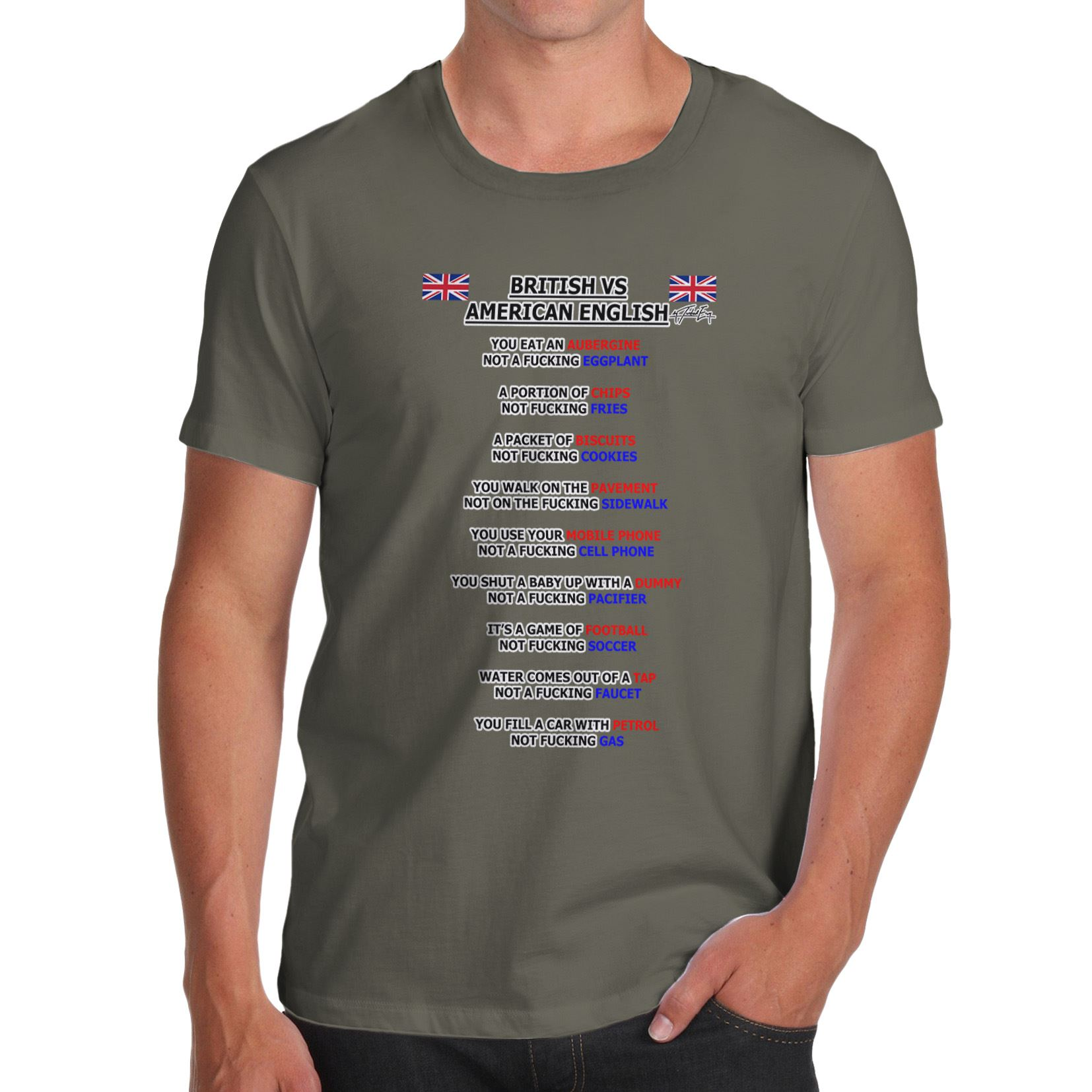 Twisted Envy Men\'s British Vs American English Grammar T-Shirt | eBay