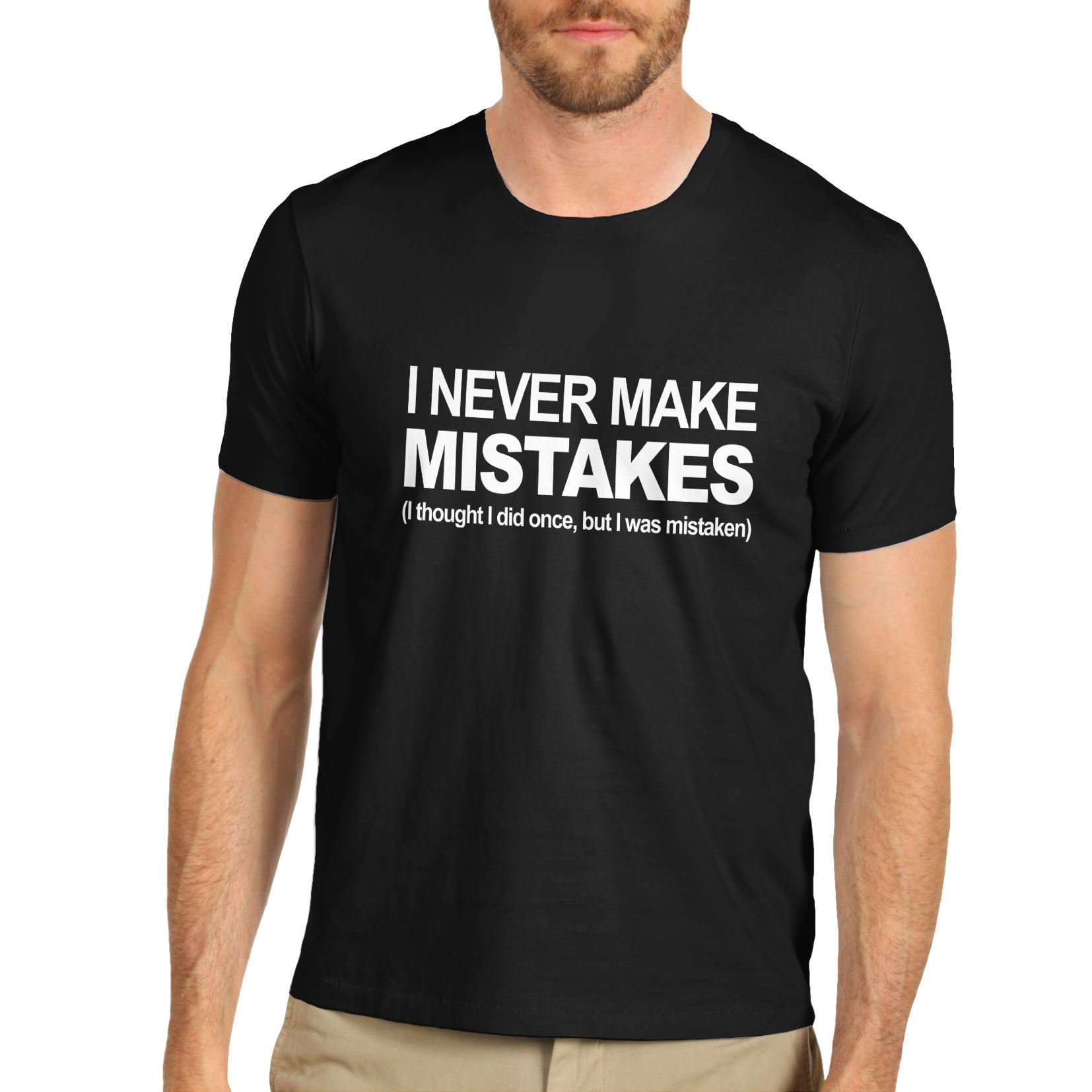dc71449df8 Details about Twisted Envy Men's I Never Make Mistakes Funny Slogan T-Shirt