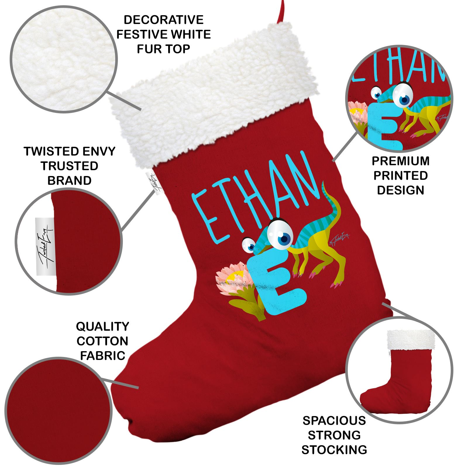 personalised baby dinosaur letter e red christmas stocking
